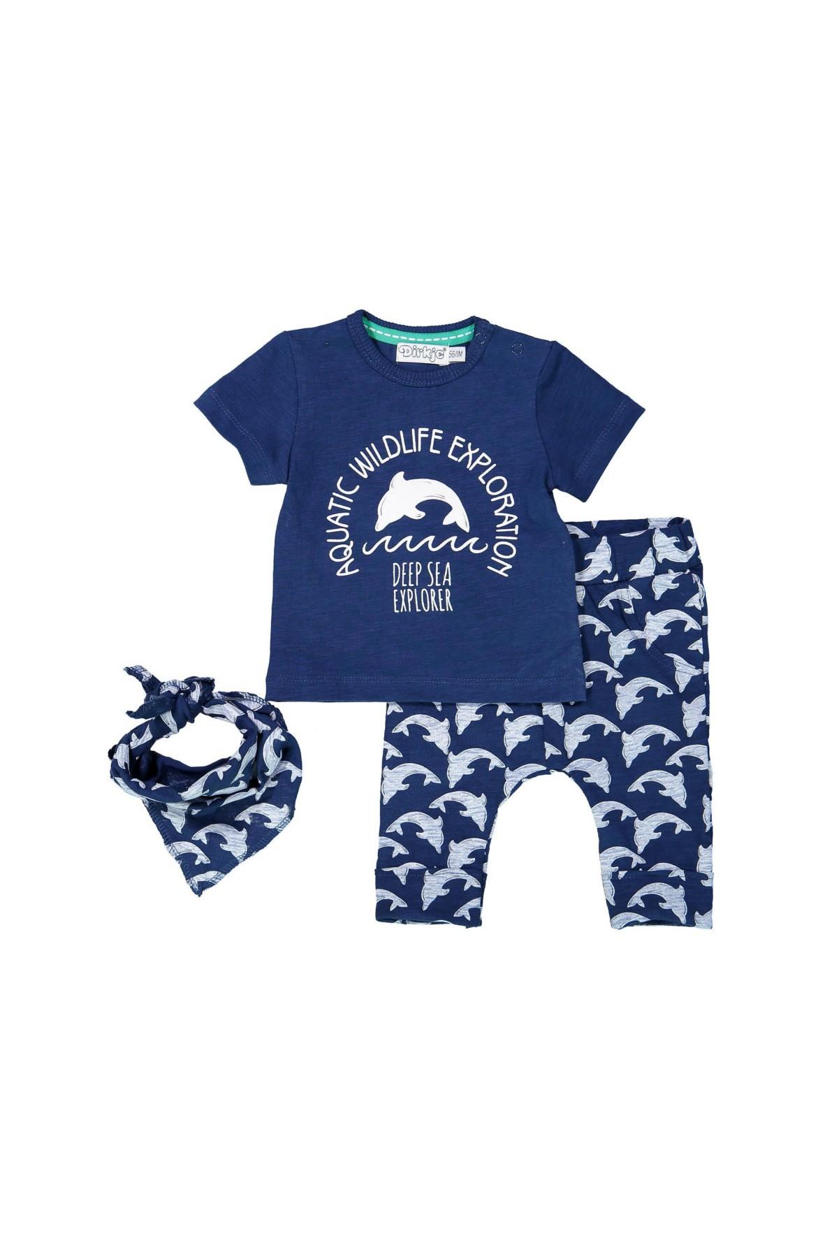 Komplet niemowlęcy- apaszka koszulka i spodnie dzianinowe
