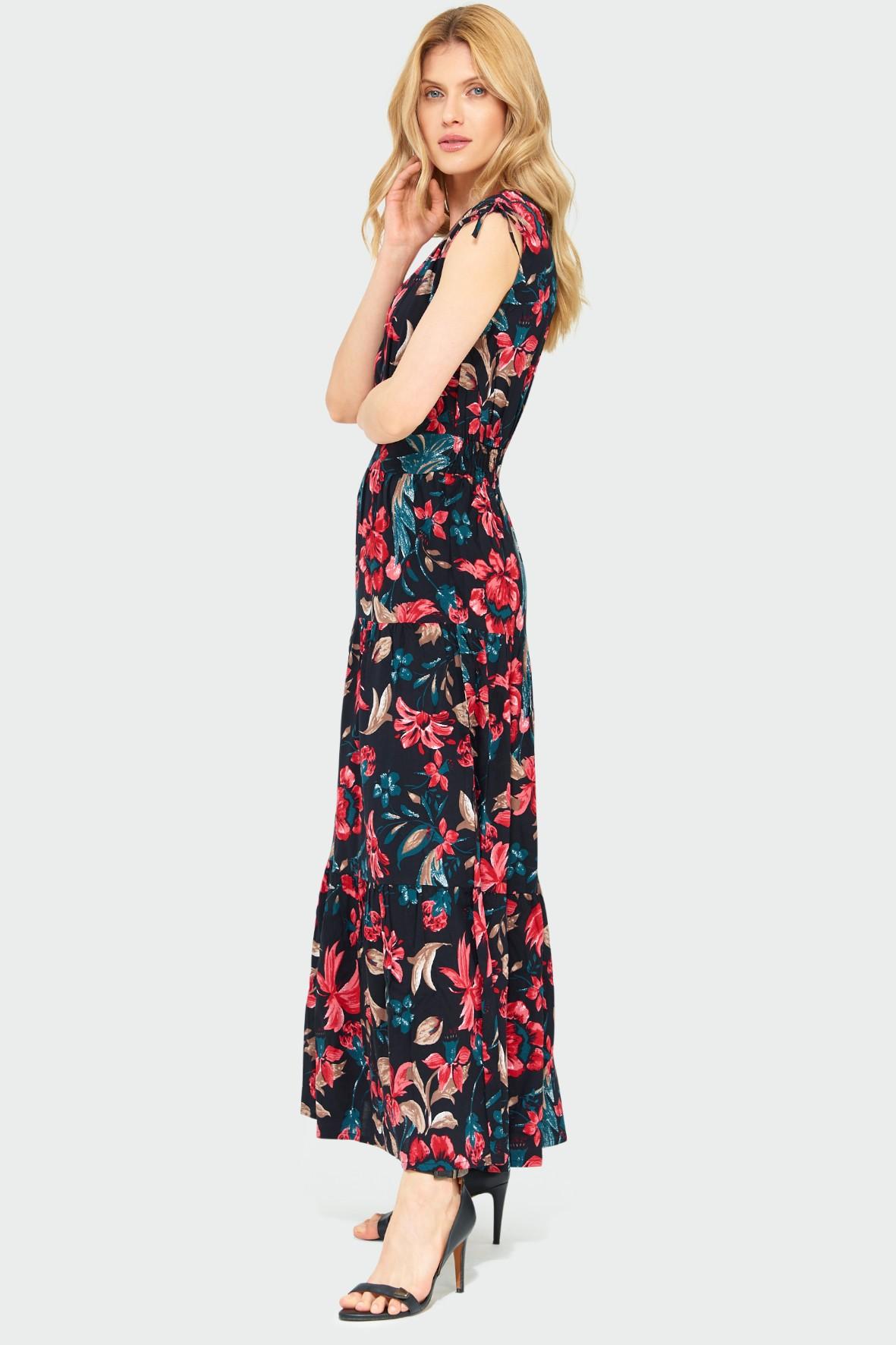 Wiskozowa długa sukienka z nadrukiem kopertowy dekolt bez rękawów