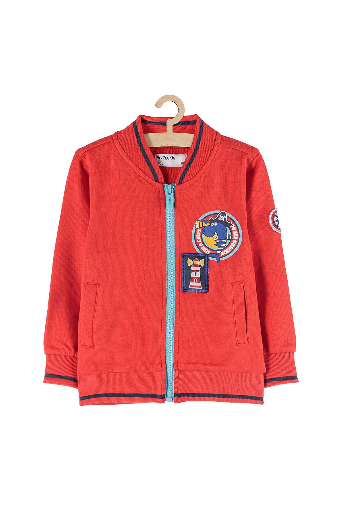 Bluza rozpinana dresowa dla chłopca- czerwona z morskimi nadrukami