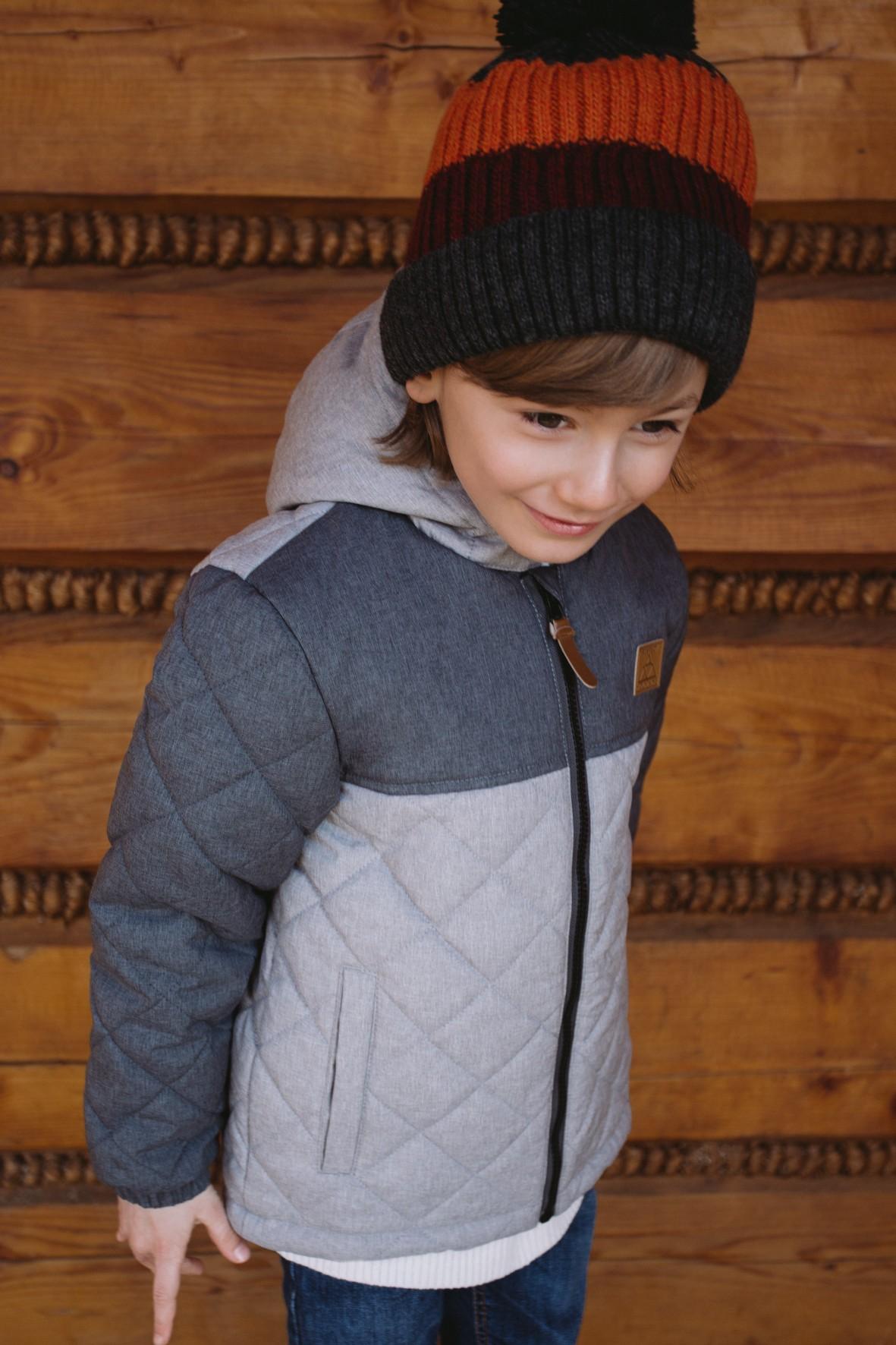 Kurtka chłopięca zimowa szara - pikowana z elementami odblaskowymi
