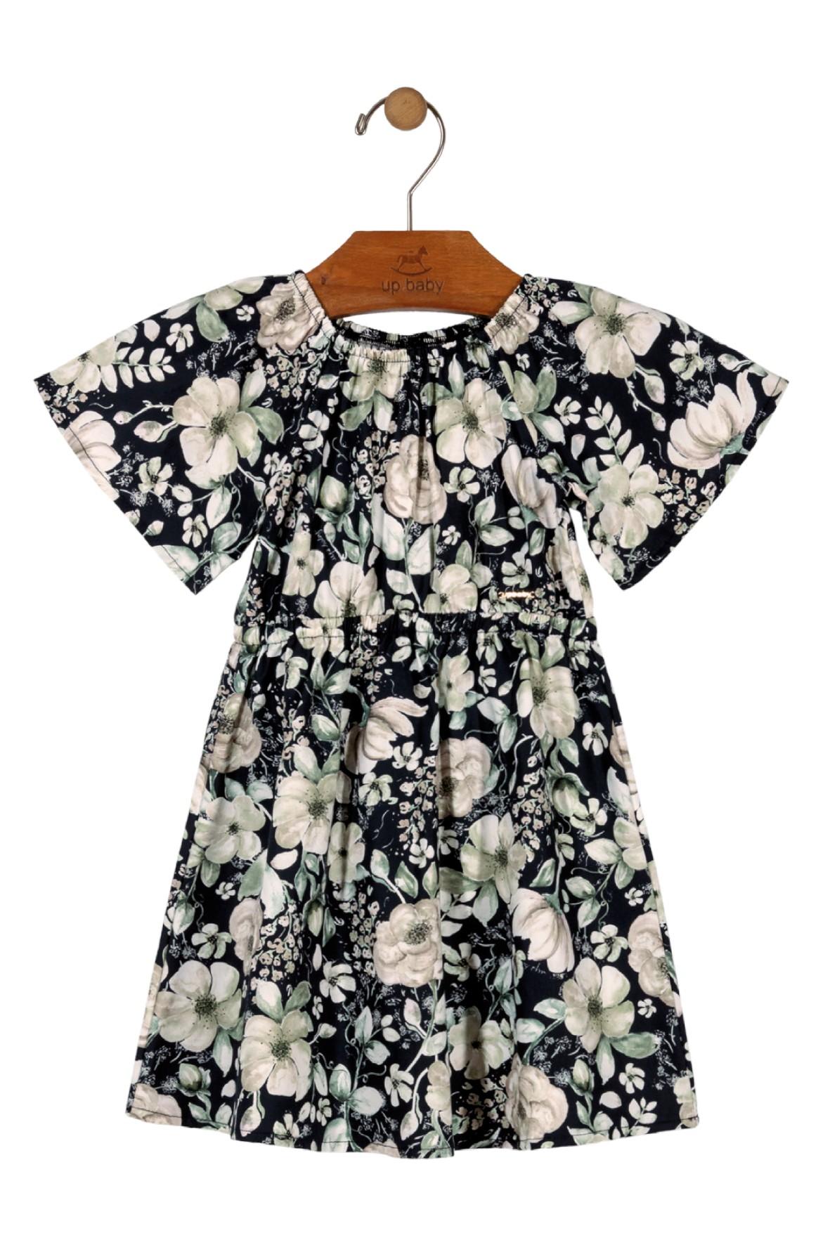 Sukienka dziewczęca czarna w białe kwiaty