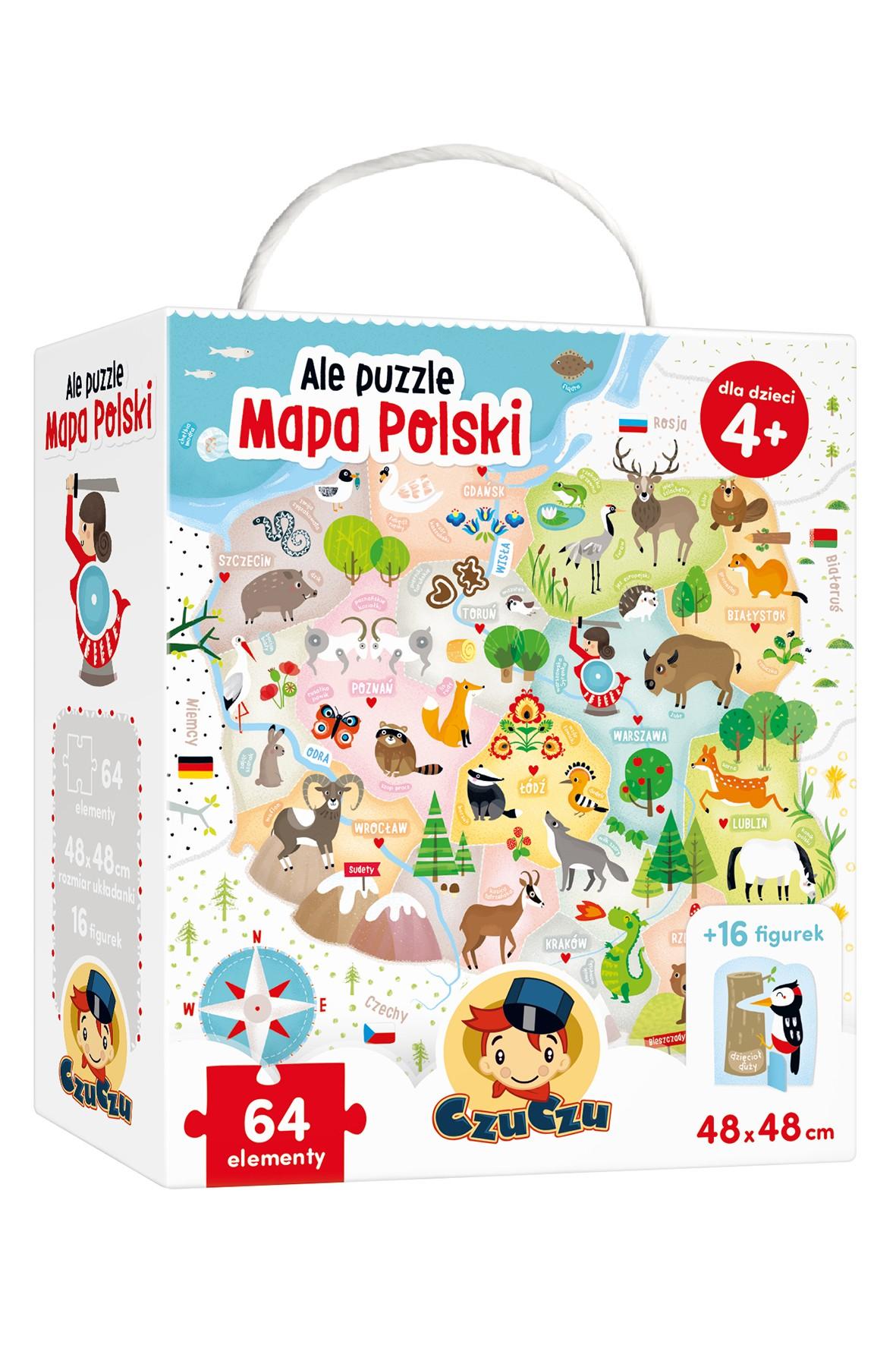 """Ale puzzle """"Mapa Polski"""" CzuCzu 64el 4+"""