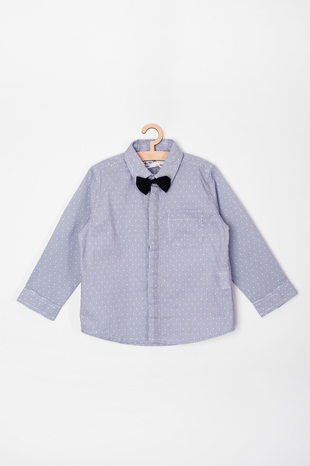 Elegancka koszula dla niemowlaka- niebieska z muszką