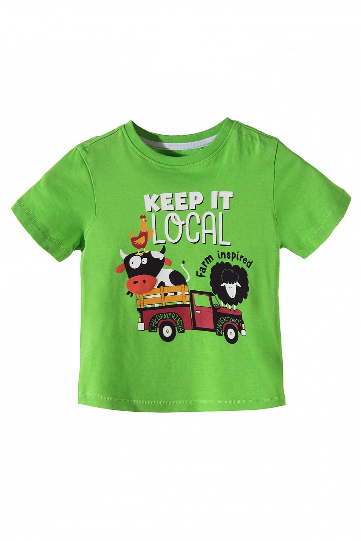 W superbly Zielony, bawełniany t-shirt dla chłopca z farmerskimi nadrukami z RK65
