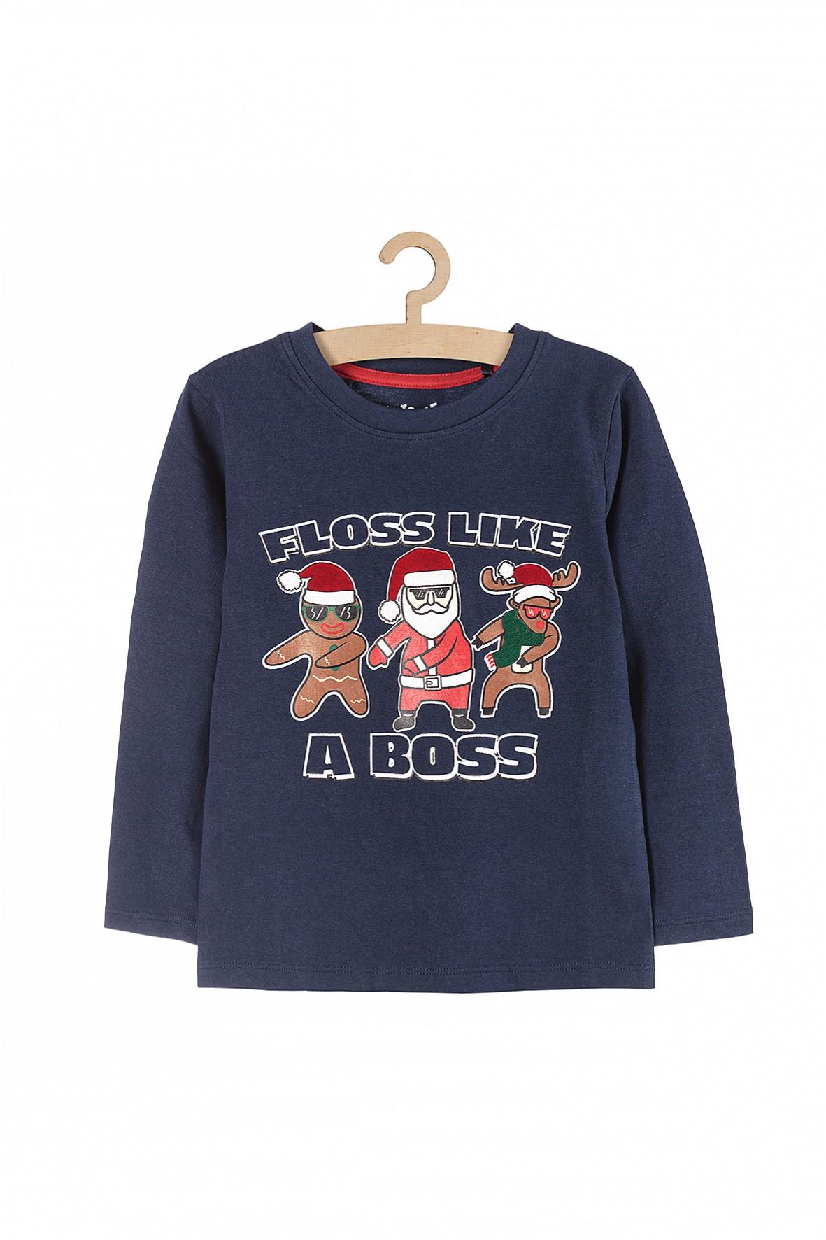 Bluzka chłopięca z długim rękawem i nadrukiem świątecznym