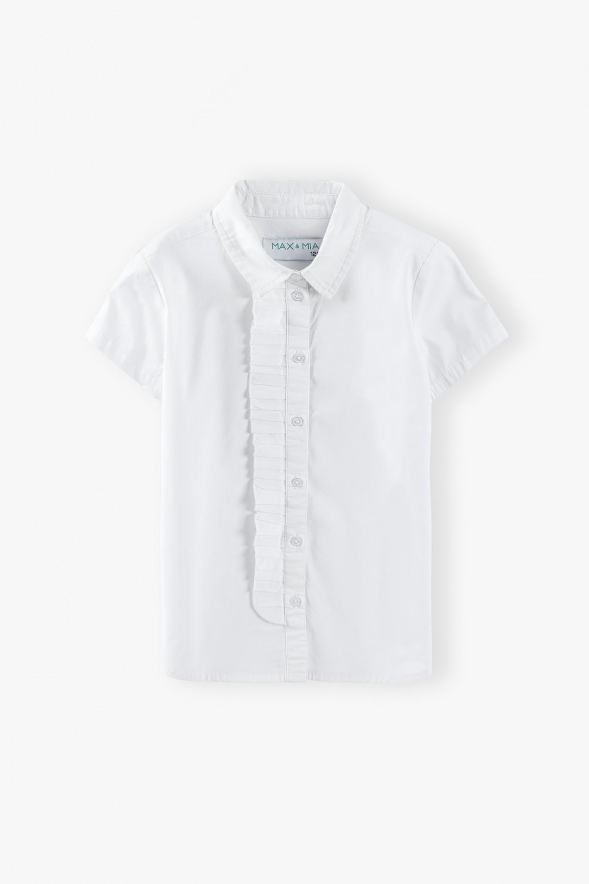 Koszula biała z krótkim rękawem dla dziewczynki