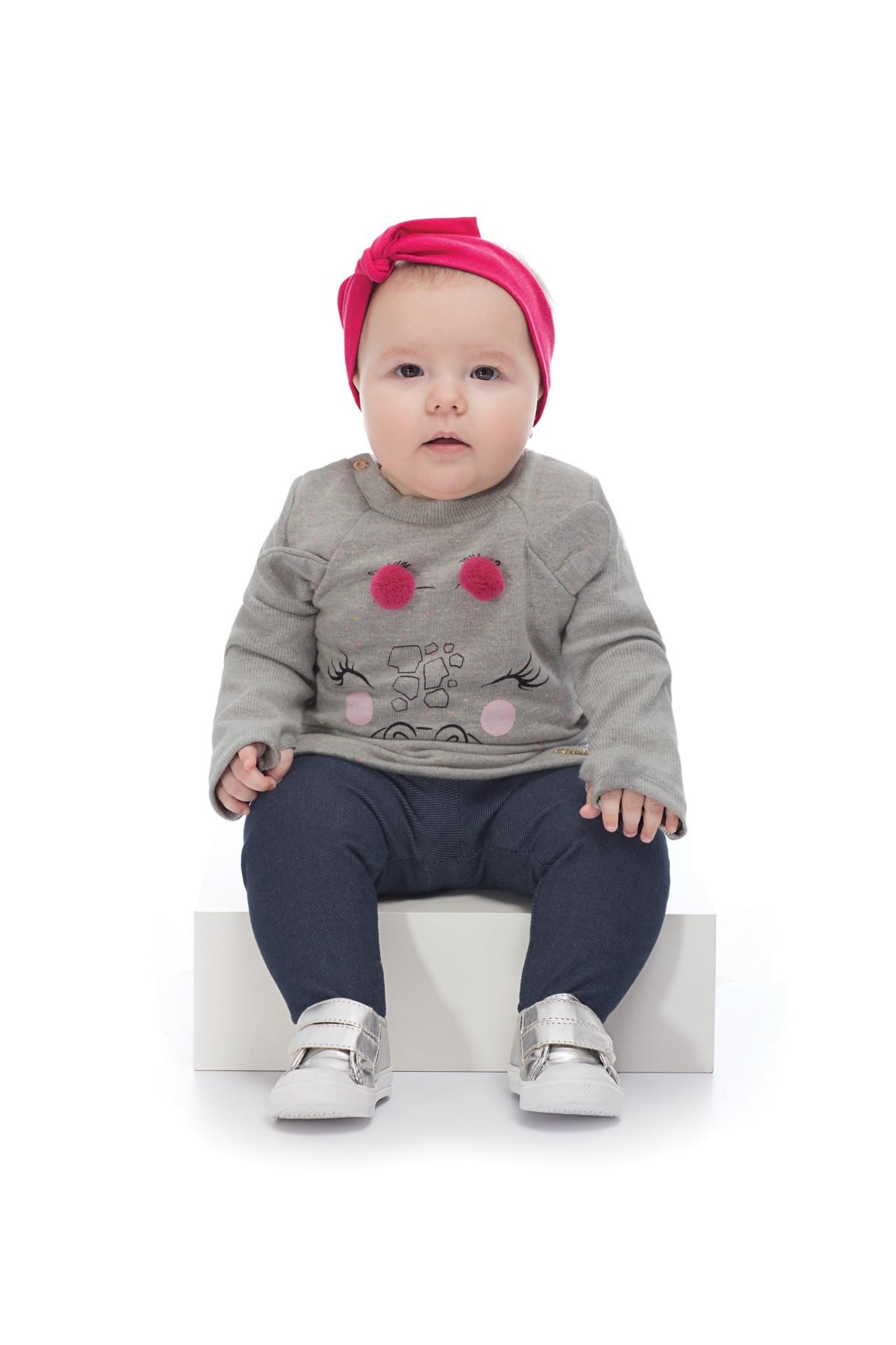 Komplet ubrań dla dziewczynki- bluzka i granatowe spodnie