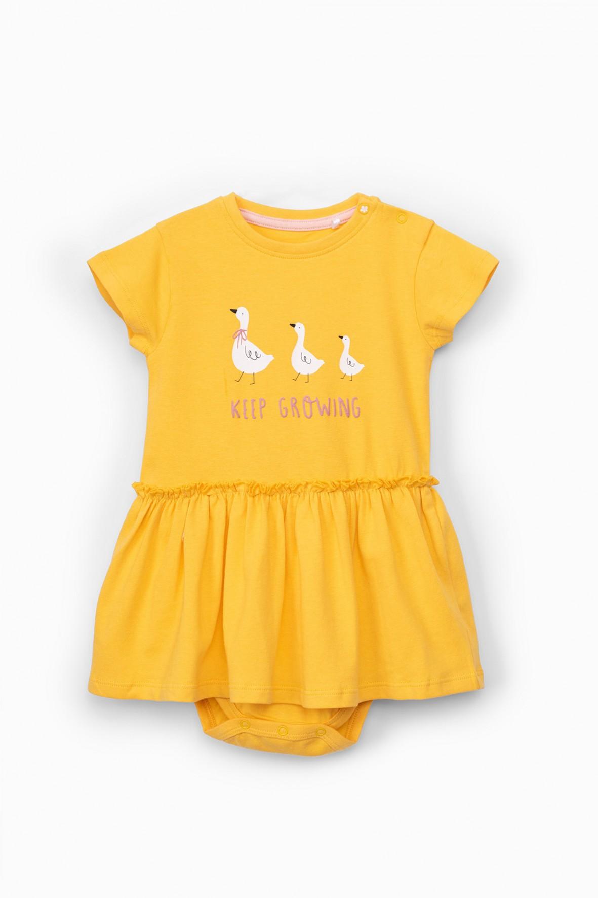Body niemowlęce z falbanką - żółte w kaczuszki