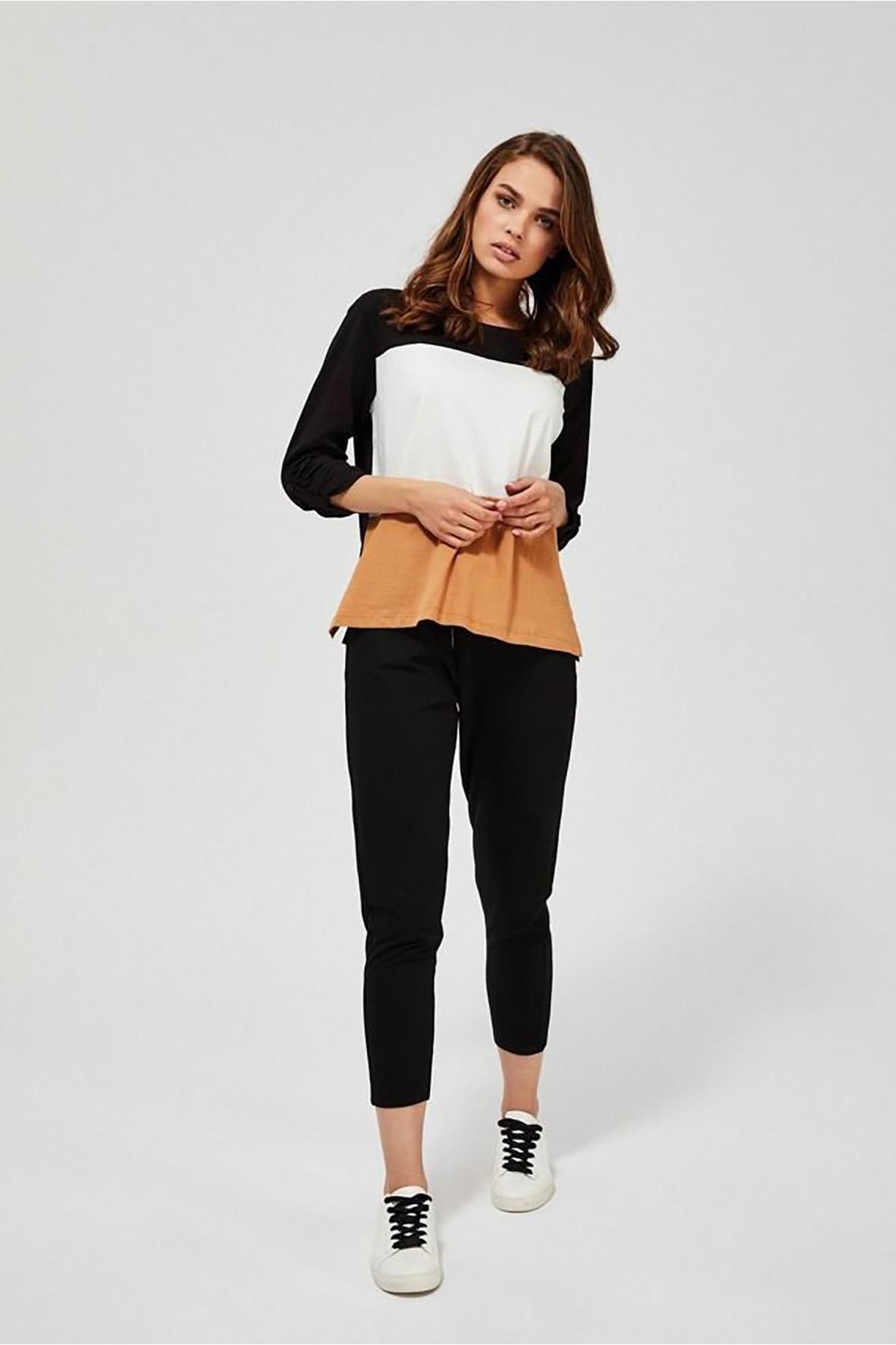 Spodnie damskie dresowe z grubą gumą w pasie - czarne