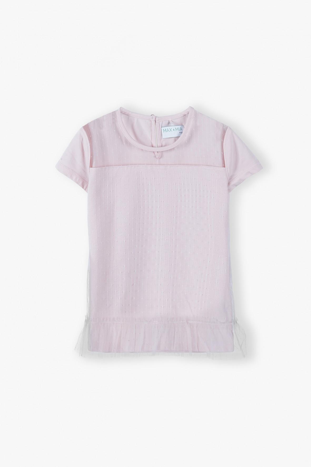 Różowy t-shirt z tiulowymi wstawkami