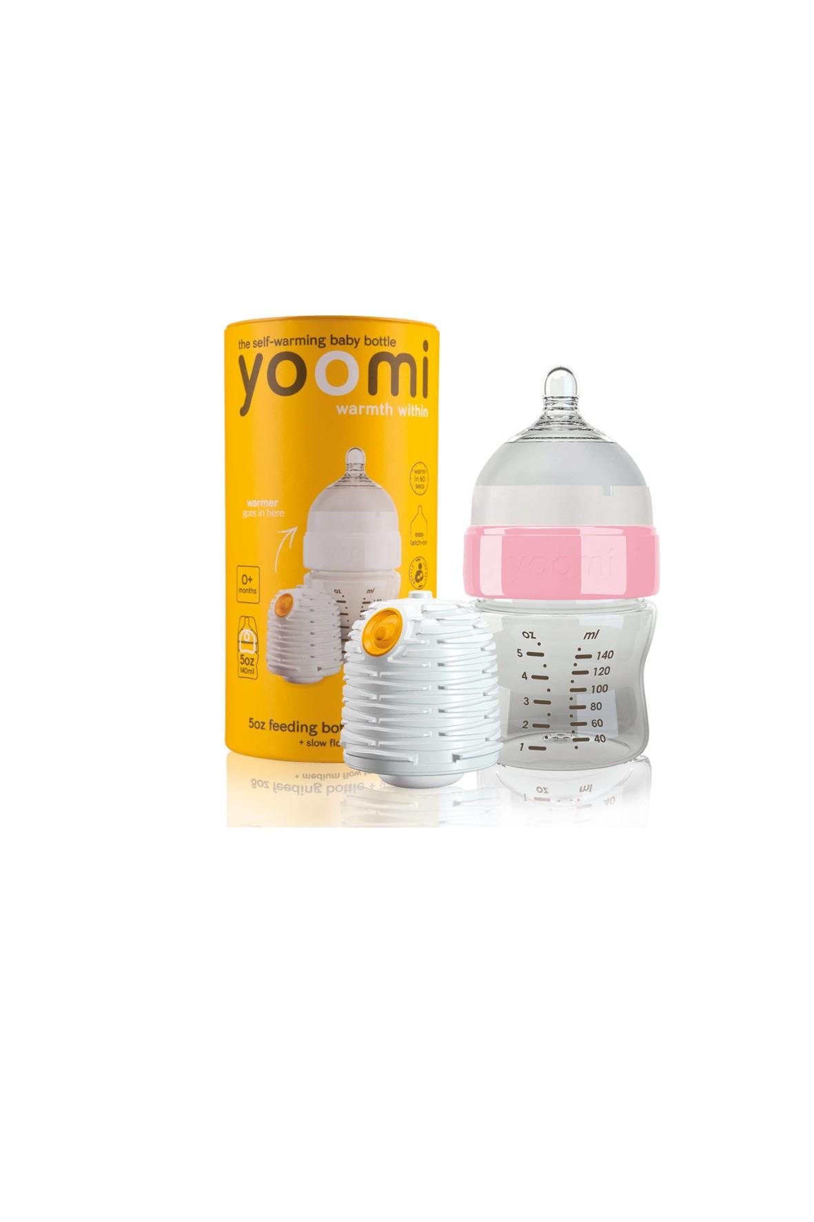 Butelka Yoomi z różowym kołnierzem i podgrzewaczem 140ml