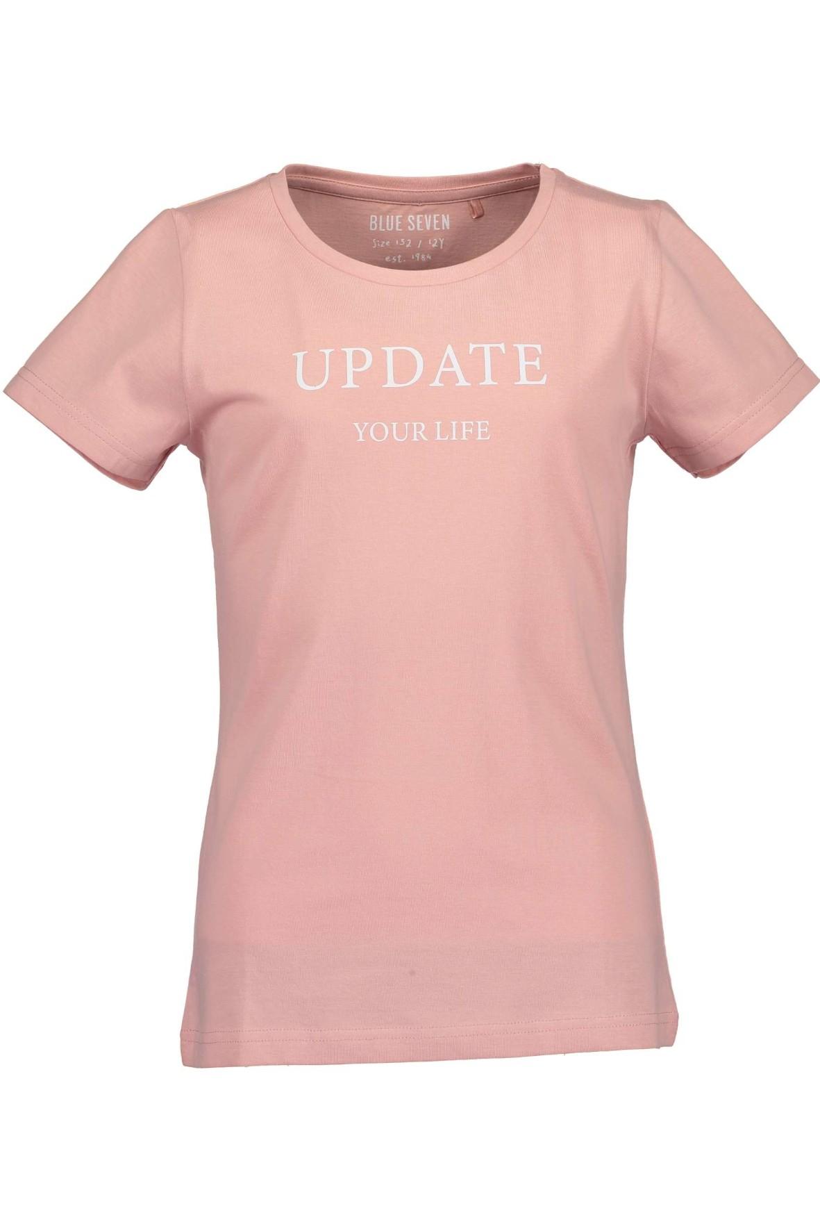 T-shirt dziewczęcy różowy z białym napisem