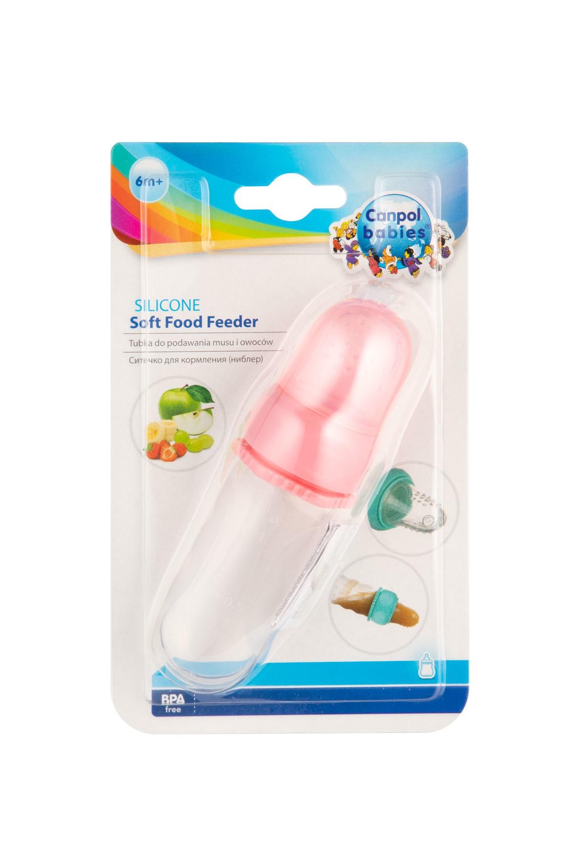 Tubka silikonowa do podawania musu i owoców - różowa 6msc+
