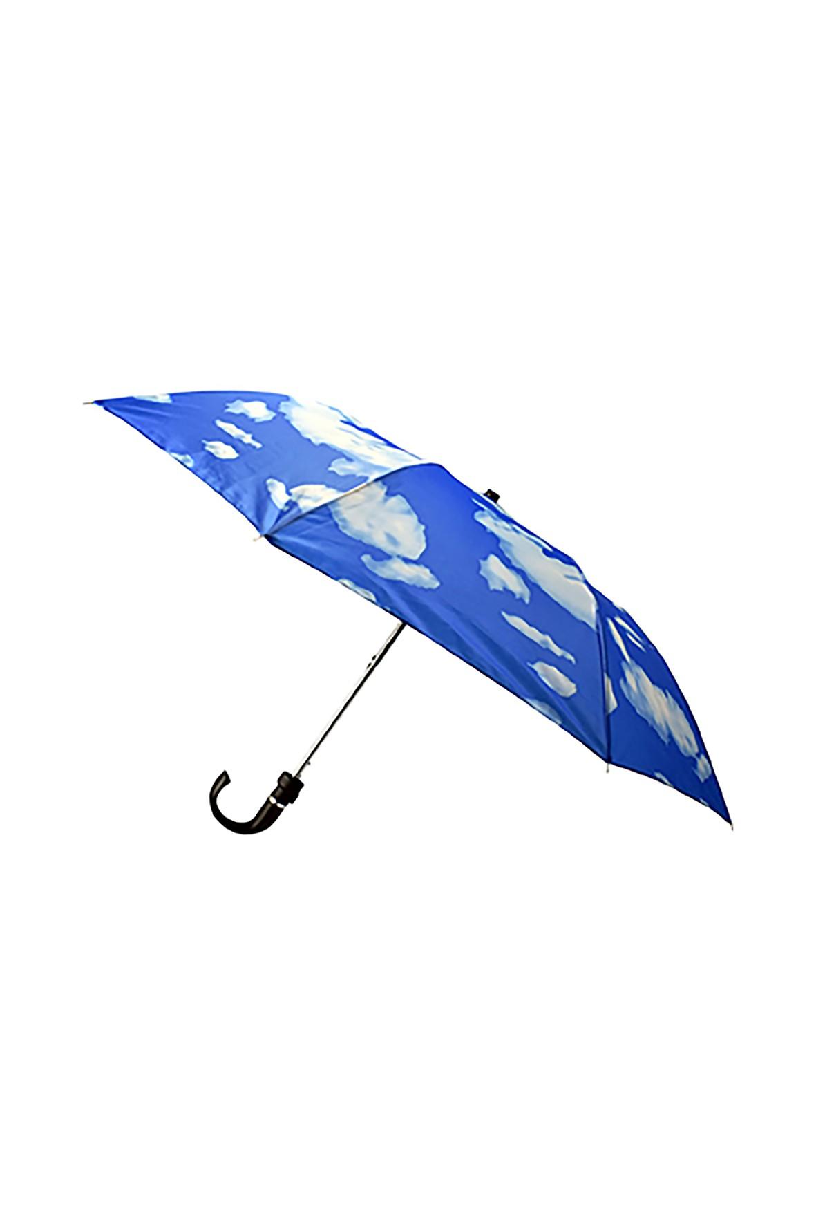 Parasol półautomatyczny krótki niebieski w chmury