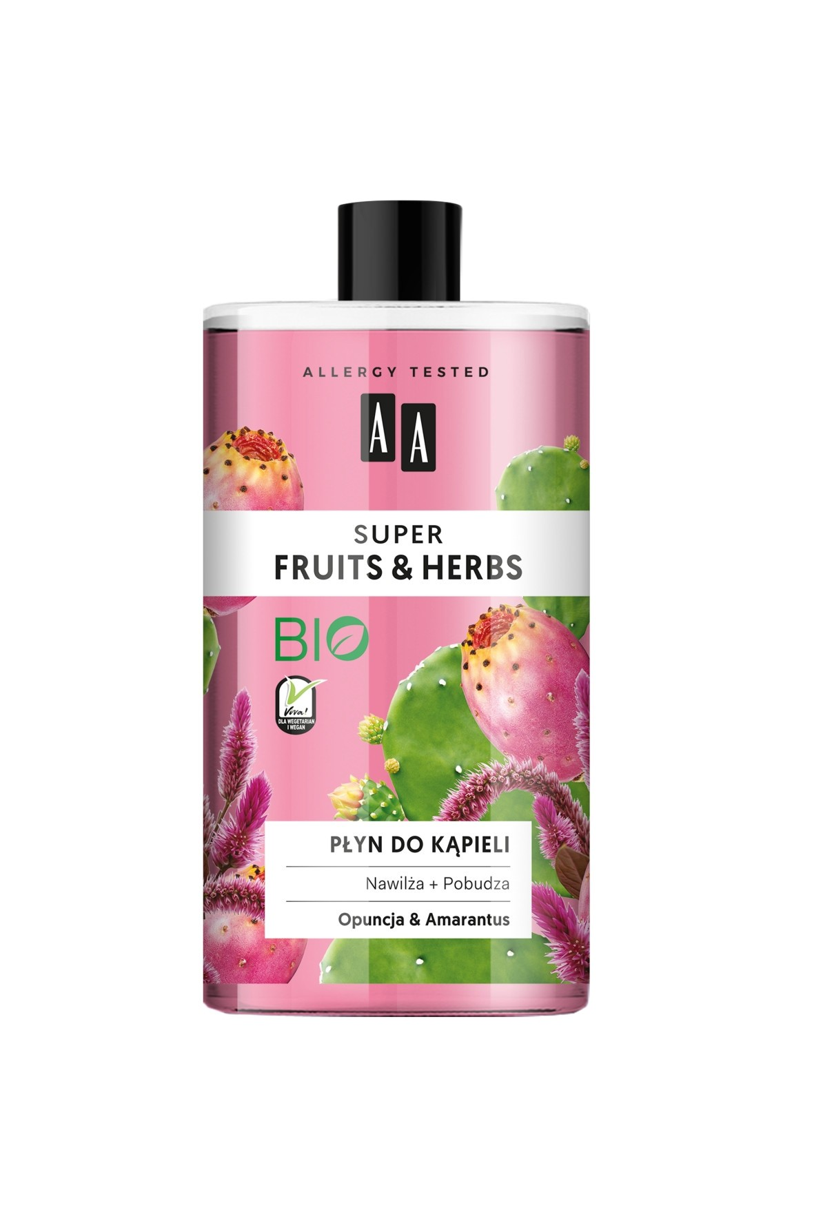 AA Super Fruits&Herbs płyn do kąpieli opuncja&amarantus 750 ml