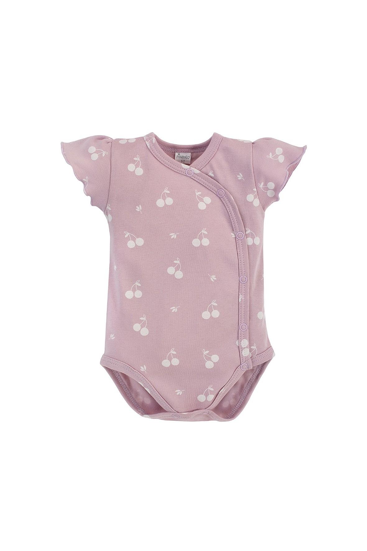Bawełniane różowe body niemowlęce z krótkim rękawem