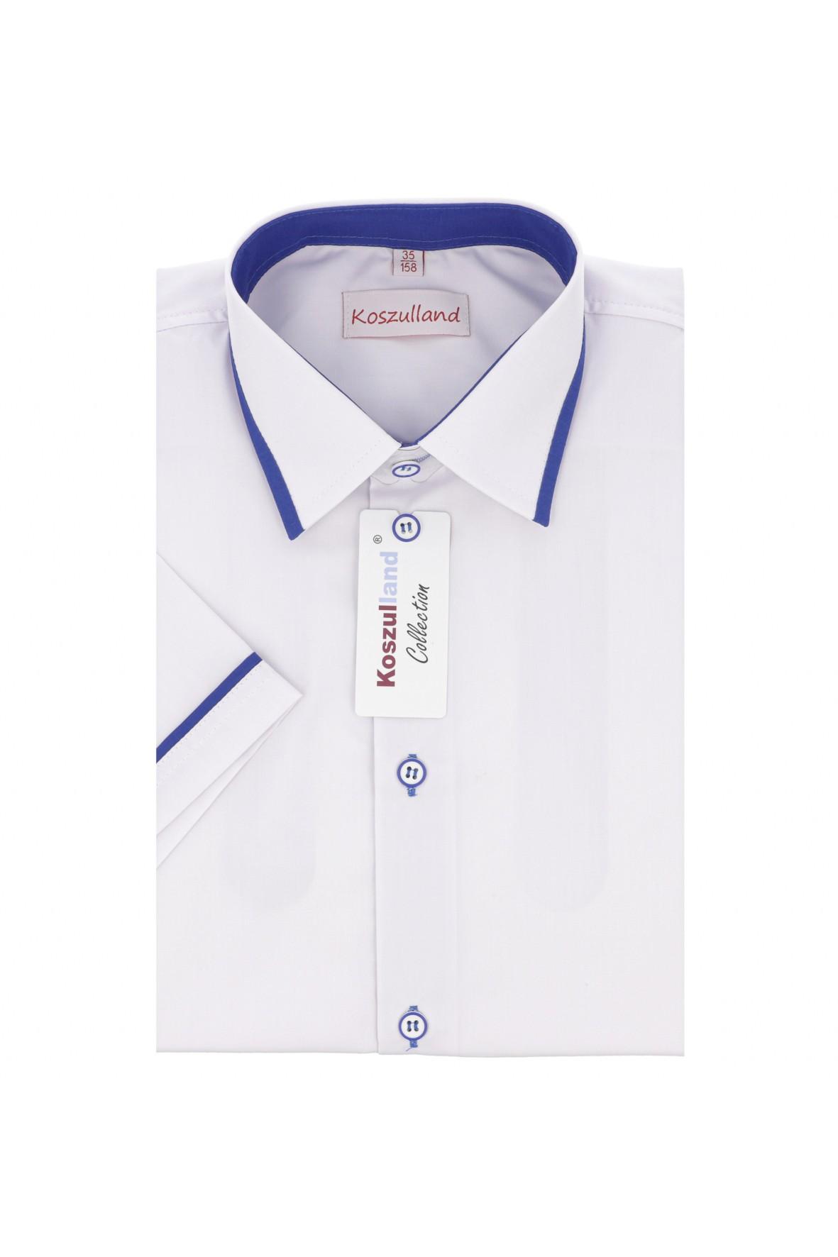 Koszula chłopięca biała z niebieskimi wstatkami- krótki rękaw