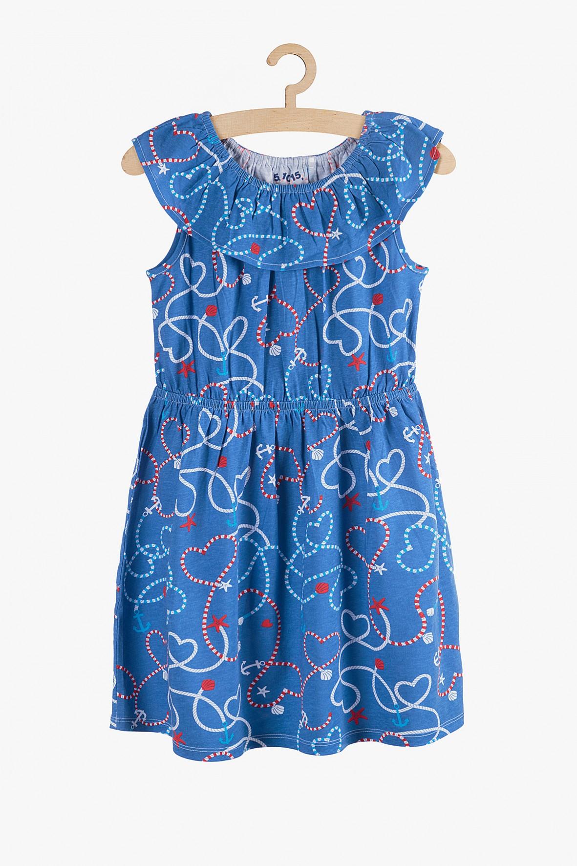 Sukienka dzianinowa z falbanką- marynistyczne wzory