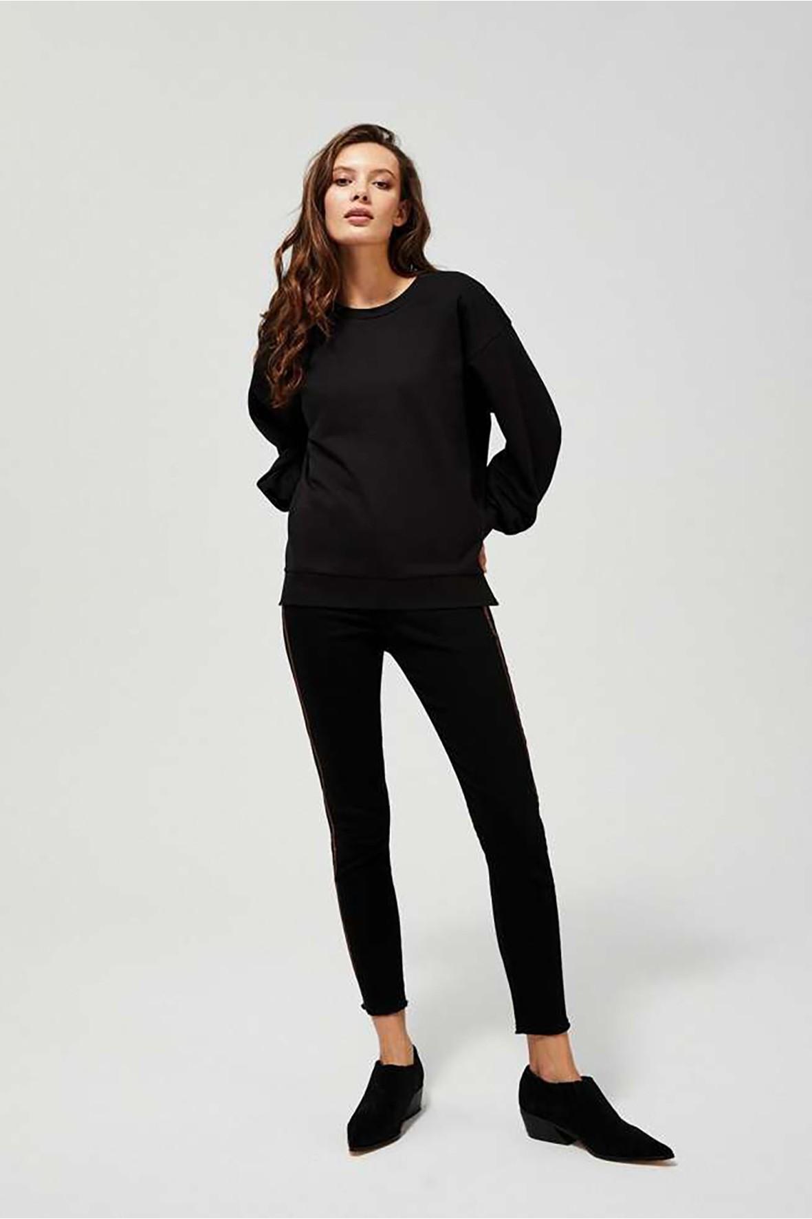 Luźna bluza ze ściągaczami i rozcięciami po bokach - czarna