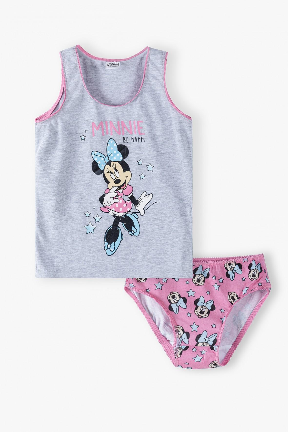 Bawełniany komplet bielizny dziewczęcej Minnie Mouse - koszulka na ramiączka i majtki