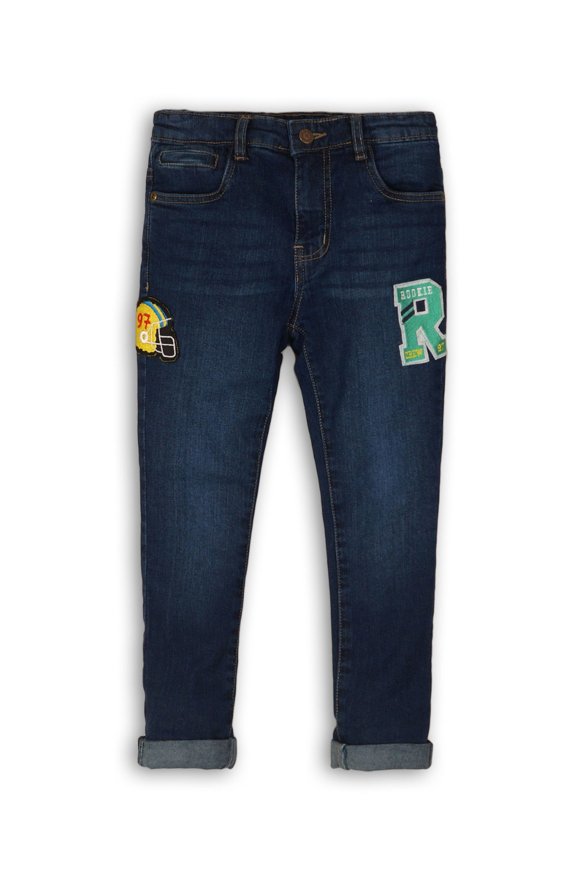 Spodnie chłopięce jeansowe z naszywkami
