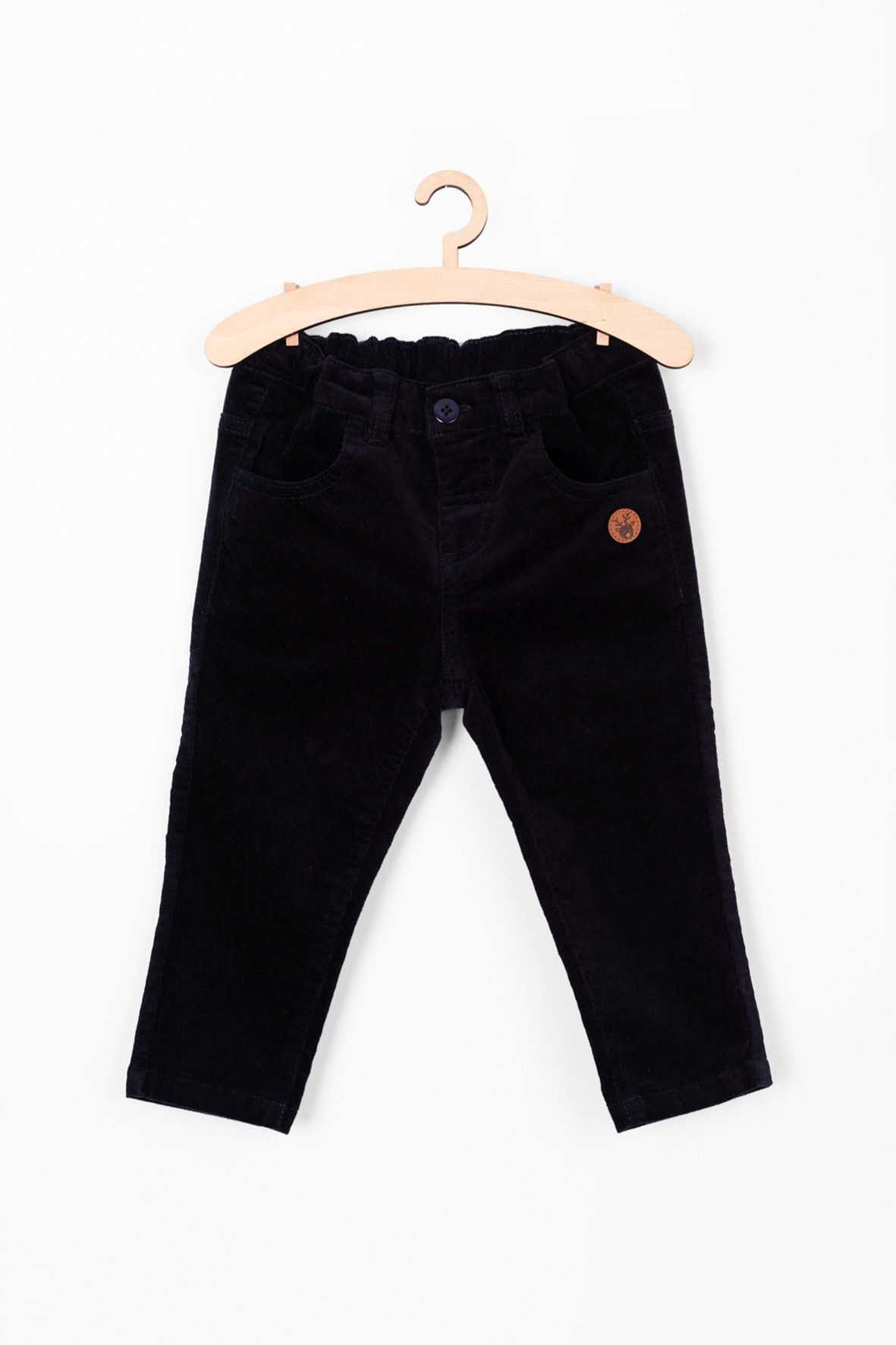 Miękkie i wygodne sztruksowe spodnie dla niemowlaka- granatowe
