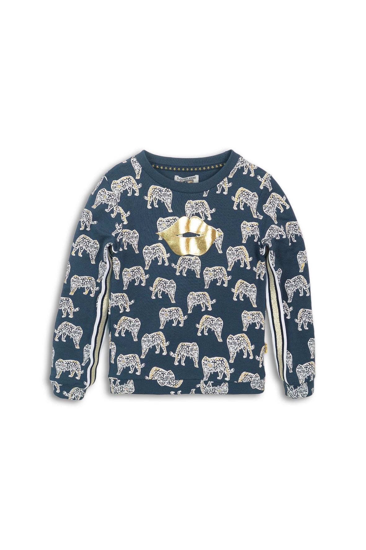 Bluza dresowa granatowa z motywem zwierząt