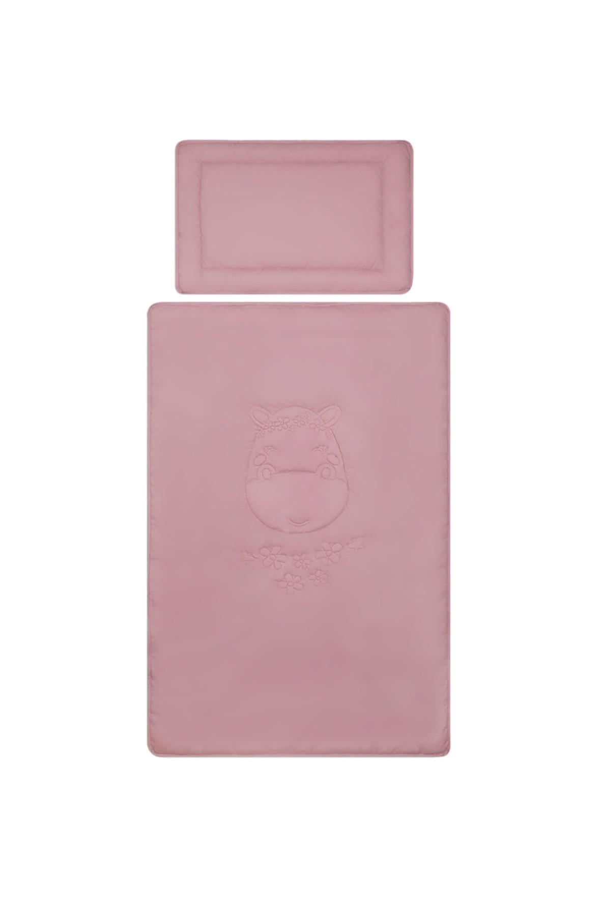 Bawełniana pościel z wypełnieniem Hippo w kolorze fioletowym - 120x80 cm