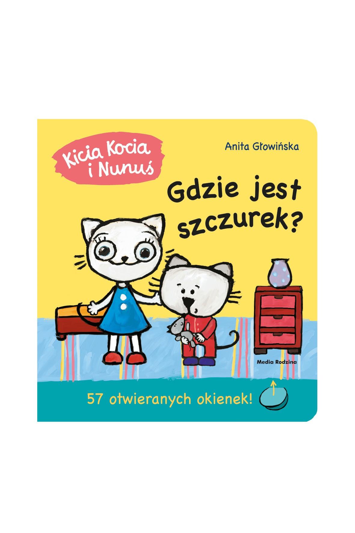 Książka dla dzieci- Kicia Kocia i Nunuś. Gdzie jest szczurek? Książeczka z okienkami
