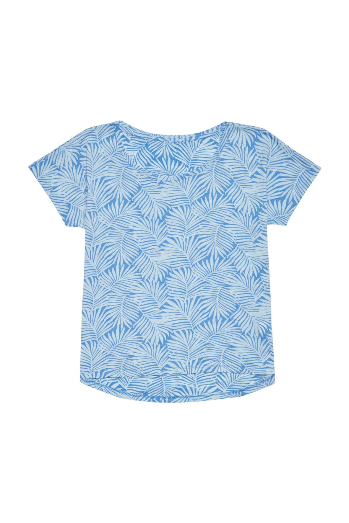 T-shirt damski z nadrukiem palmy- niebieski