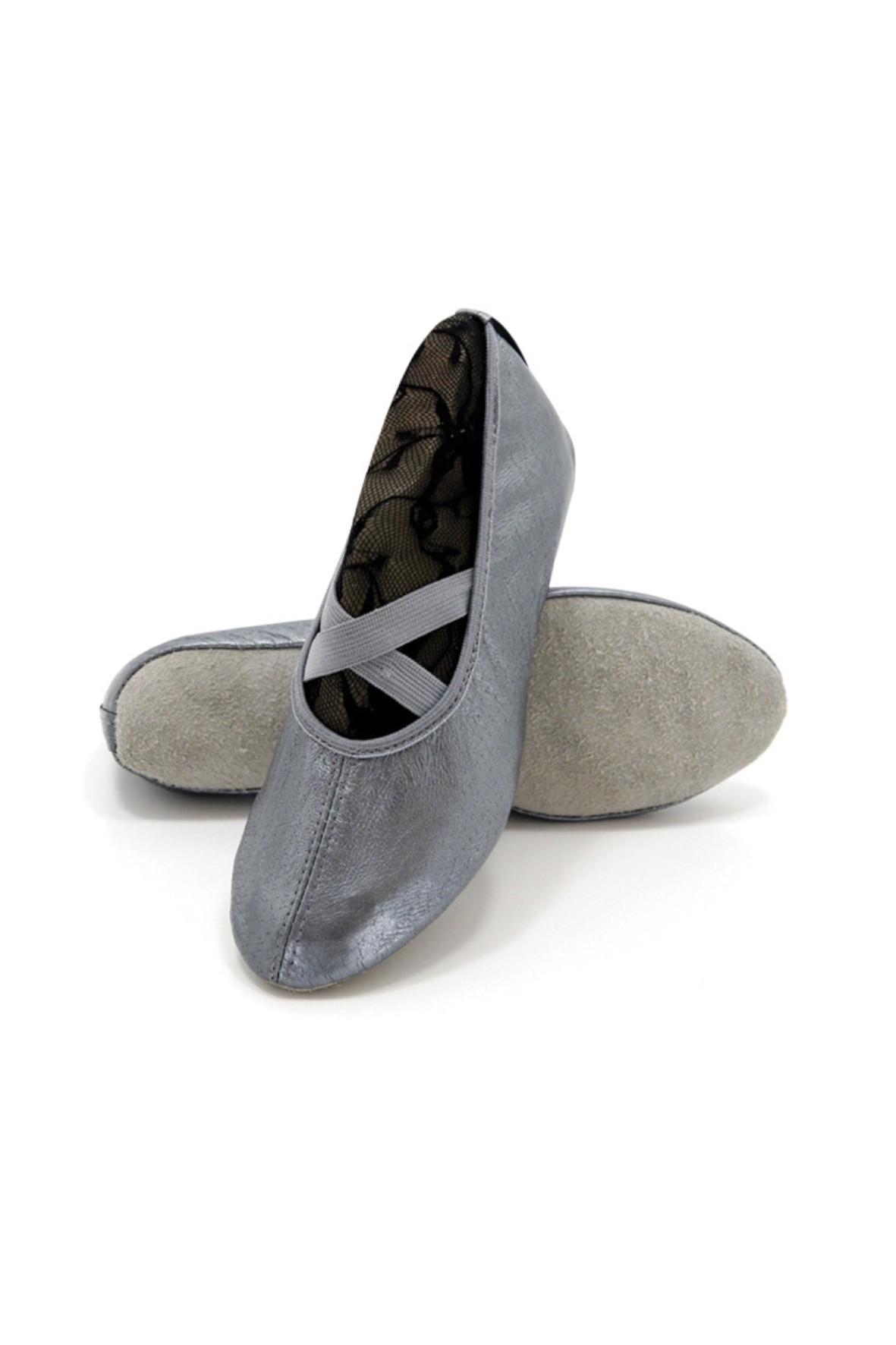 Baletki dziewczęce srebrne- skórzane