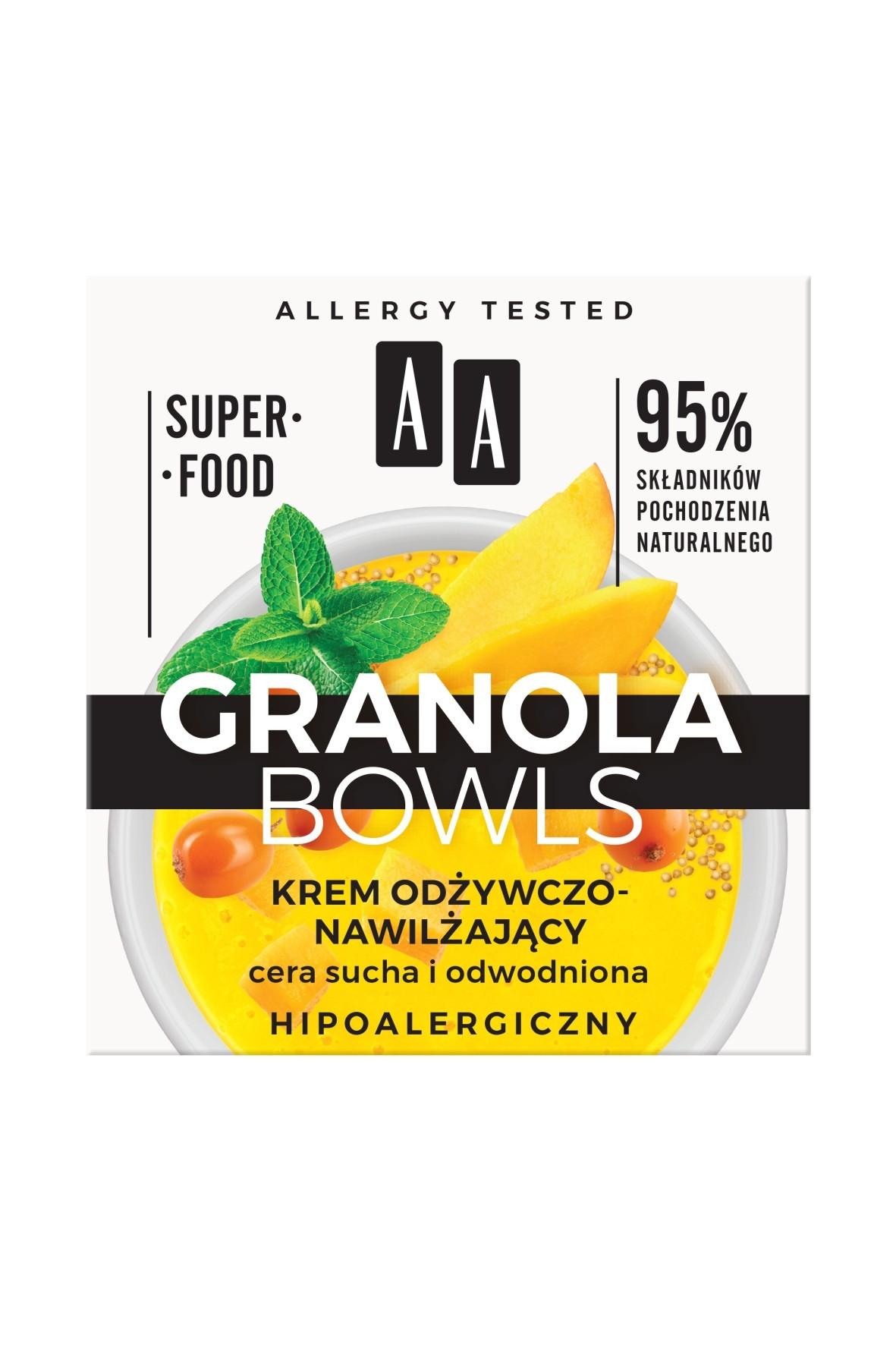 AA Granola Bowls krem odżywczo-nawilżający Nutri cera sucha i odwodniona 50 ml