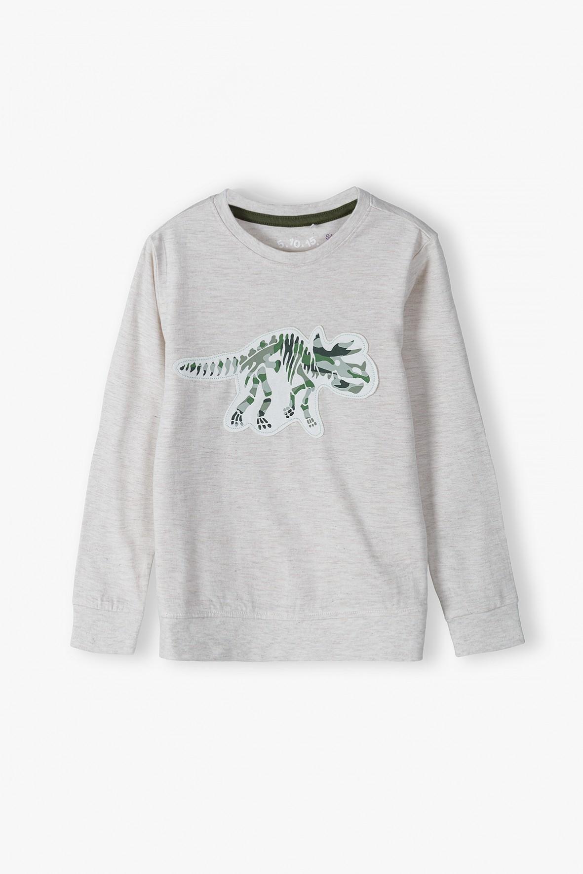 Bluzka chłopięca z długim rękawem w kolorze szarym z dinozaurem