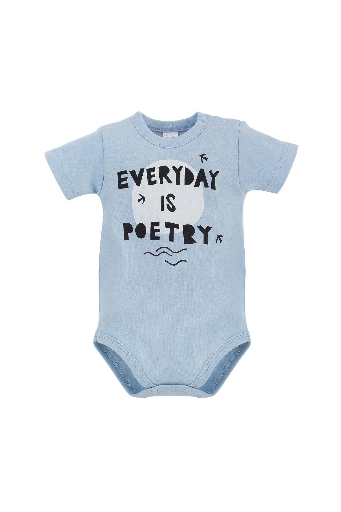Niebieskie body niemowlęce z krótkim rękawem bawełniane