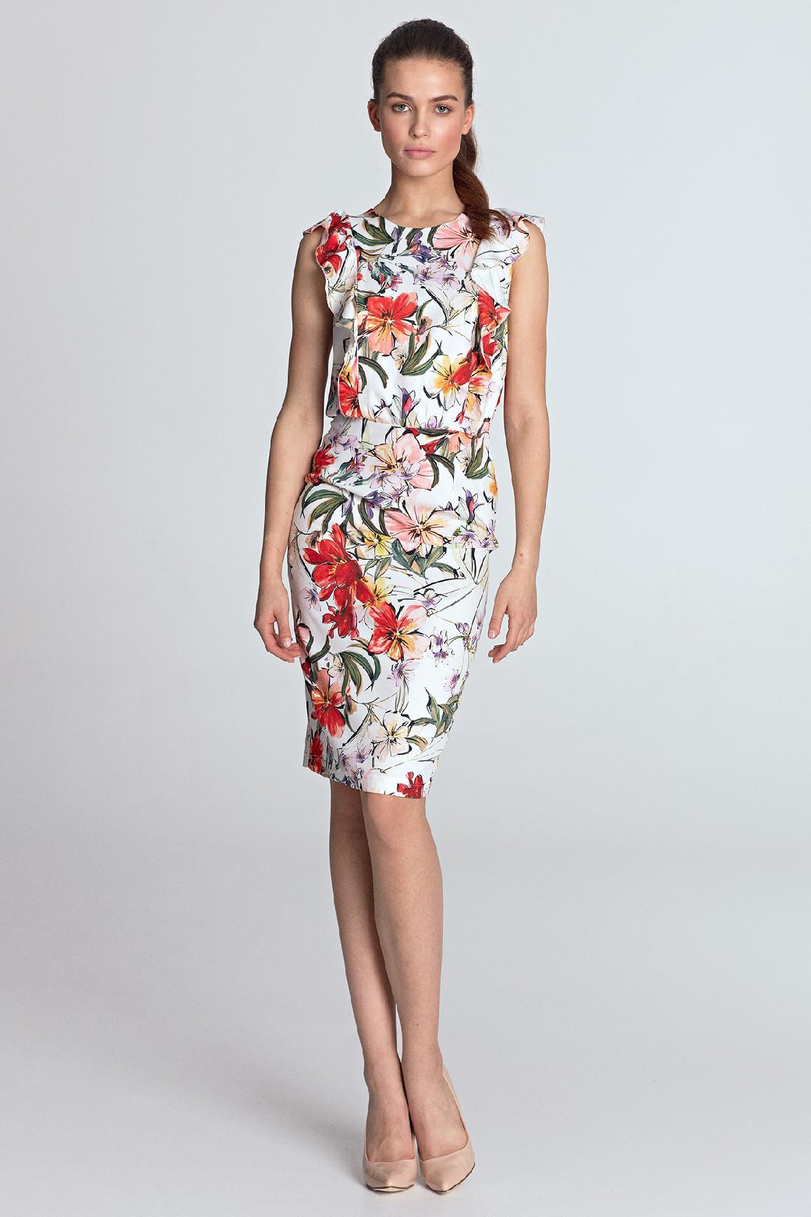 Letnia jasna sukienka damska w kwiaty- mini