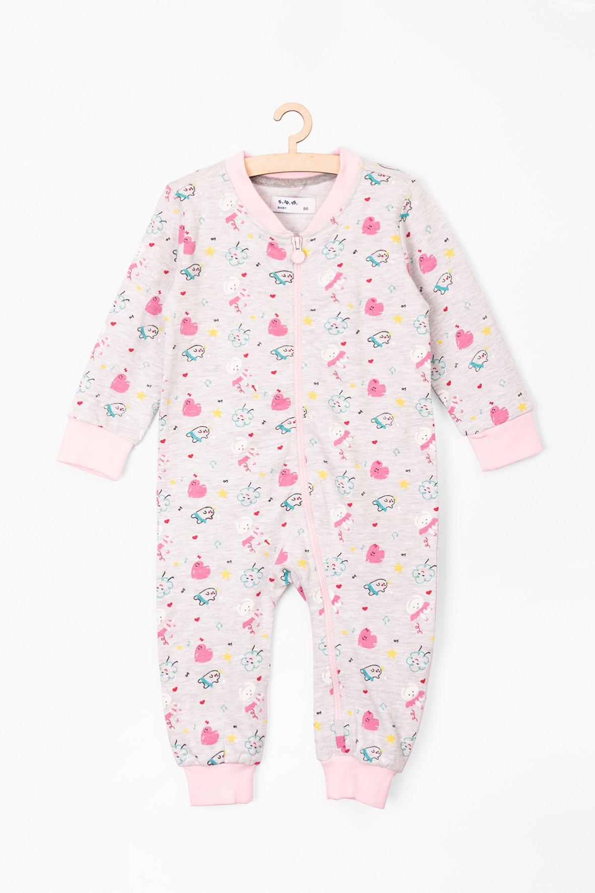 Pajac niemowlęcy dla dziewczynki różowy we wzory