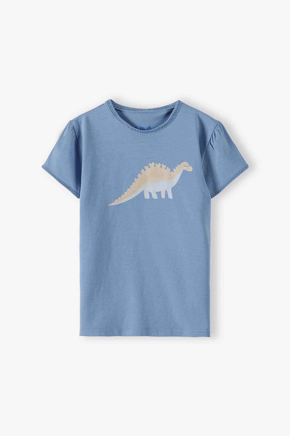 Bawełniany niebieski t-shirt dziewczęcy z dinozaurem