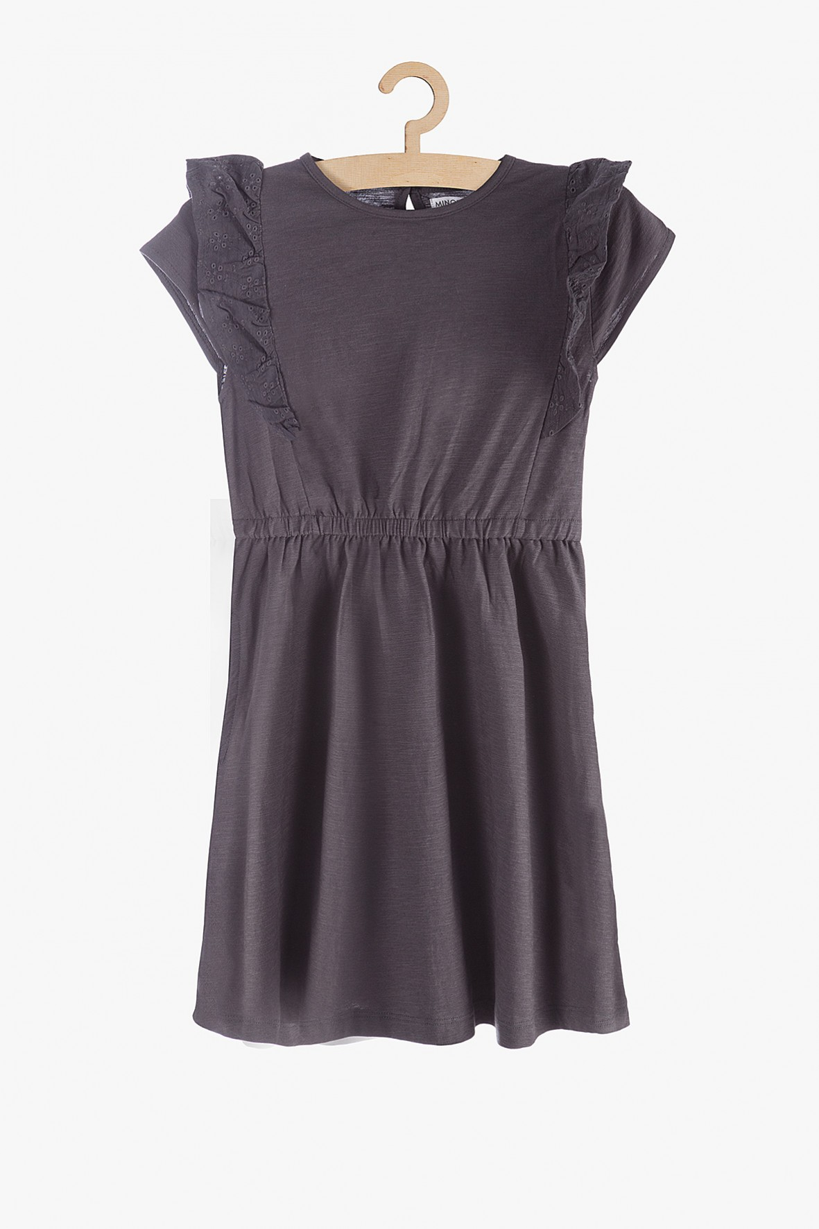 Sukienka dzianinowa - szara z falbankami