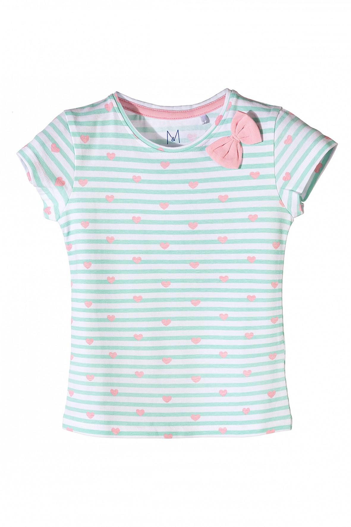 Koszulka dziewczęca w serduszka z ozdobną różową kokardką
