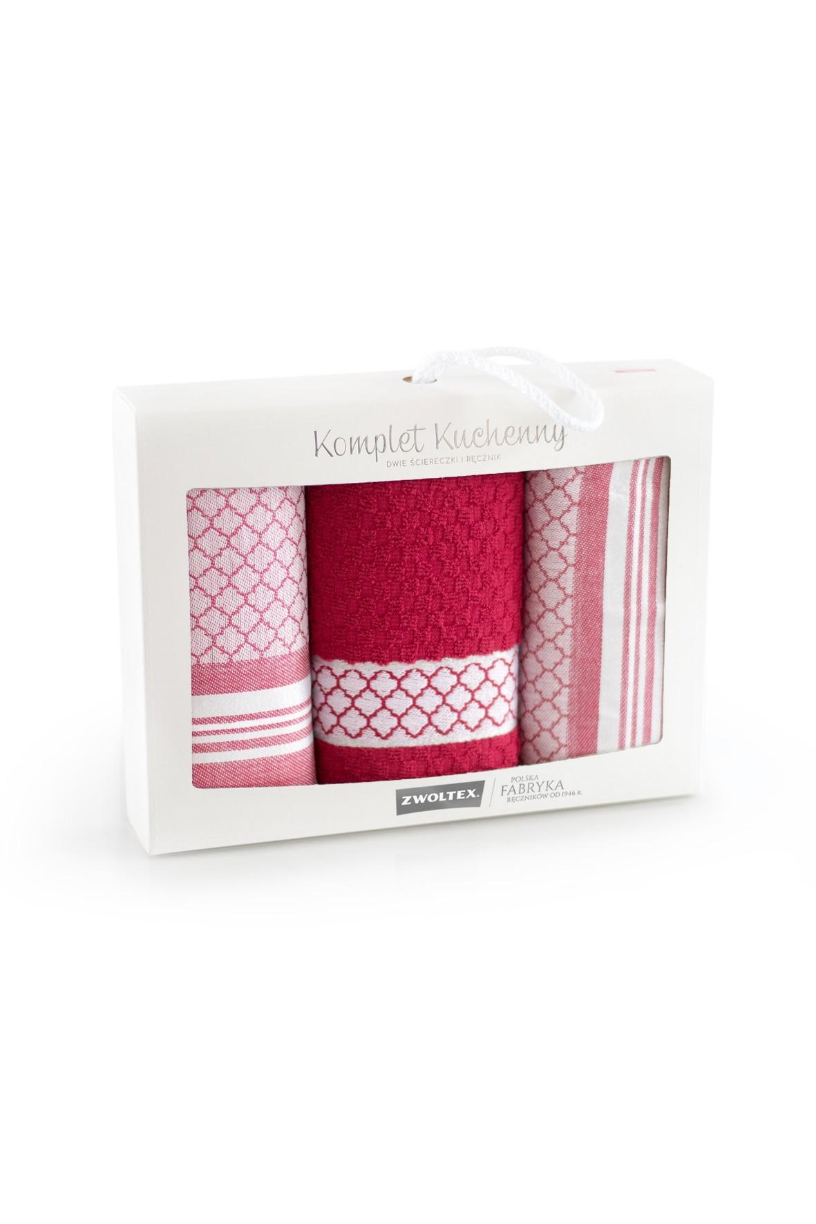 Komplet ściereczek kuchennych + ręcznik MAROKO bordo 3pak