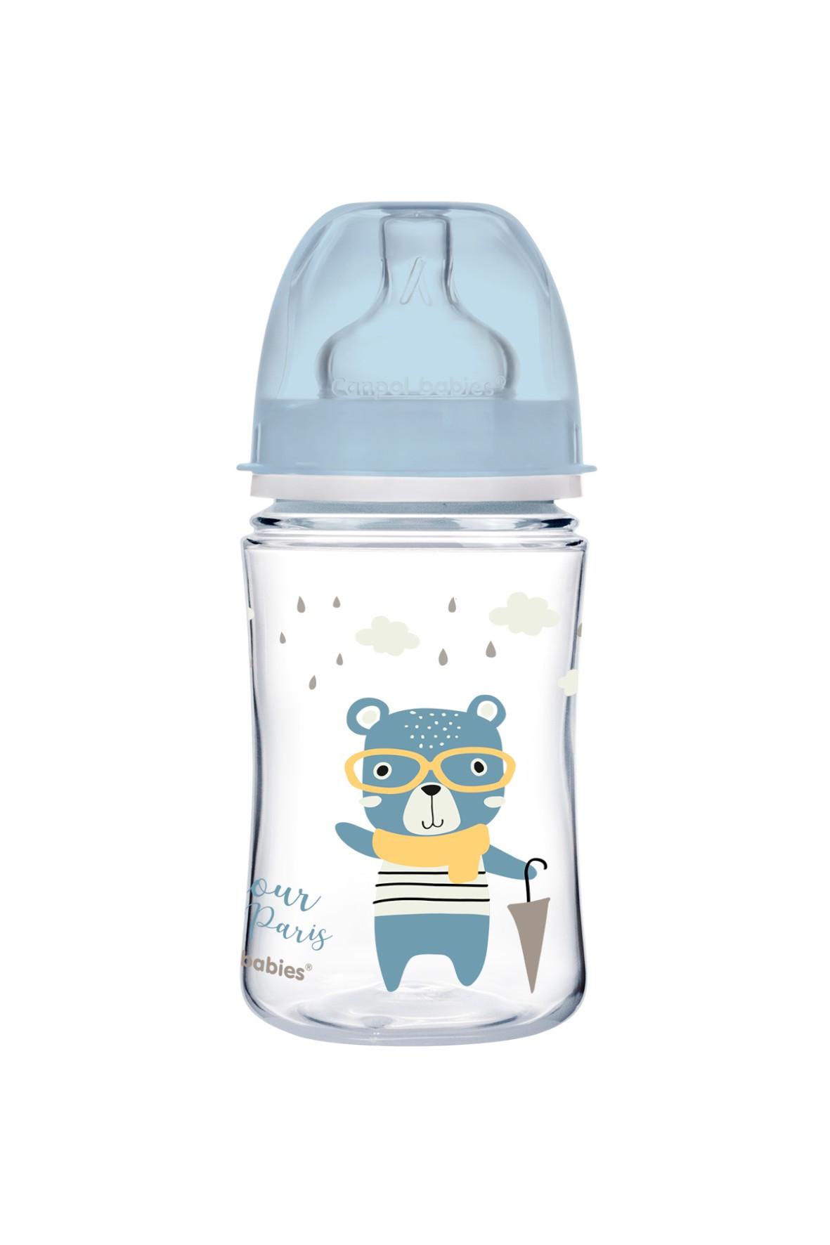 Canpol babies butelka szeroka antykolkowa 240 ml PP Easy Start BONJOUR - niebieska