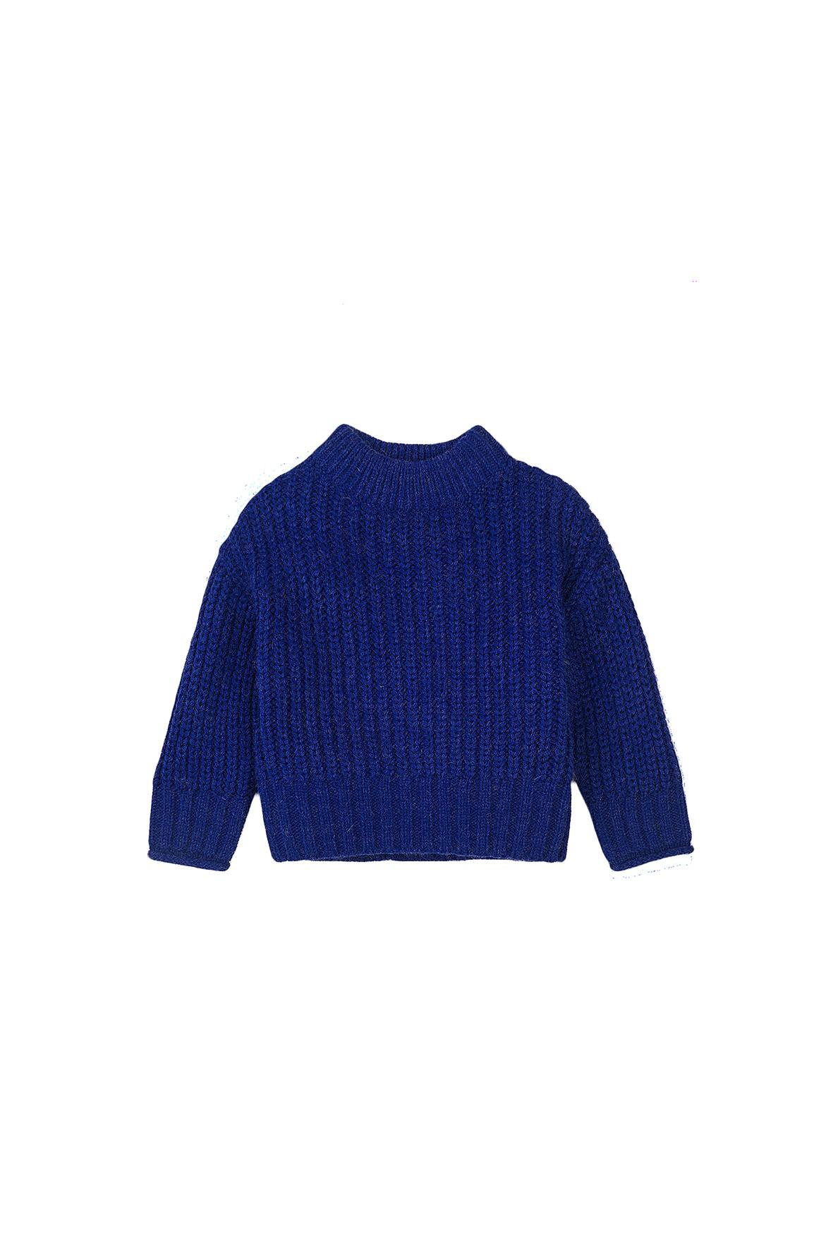 Sweter dziewczęcy dzianinowy niebieski