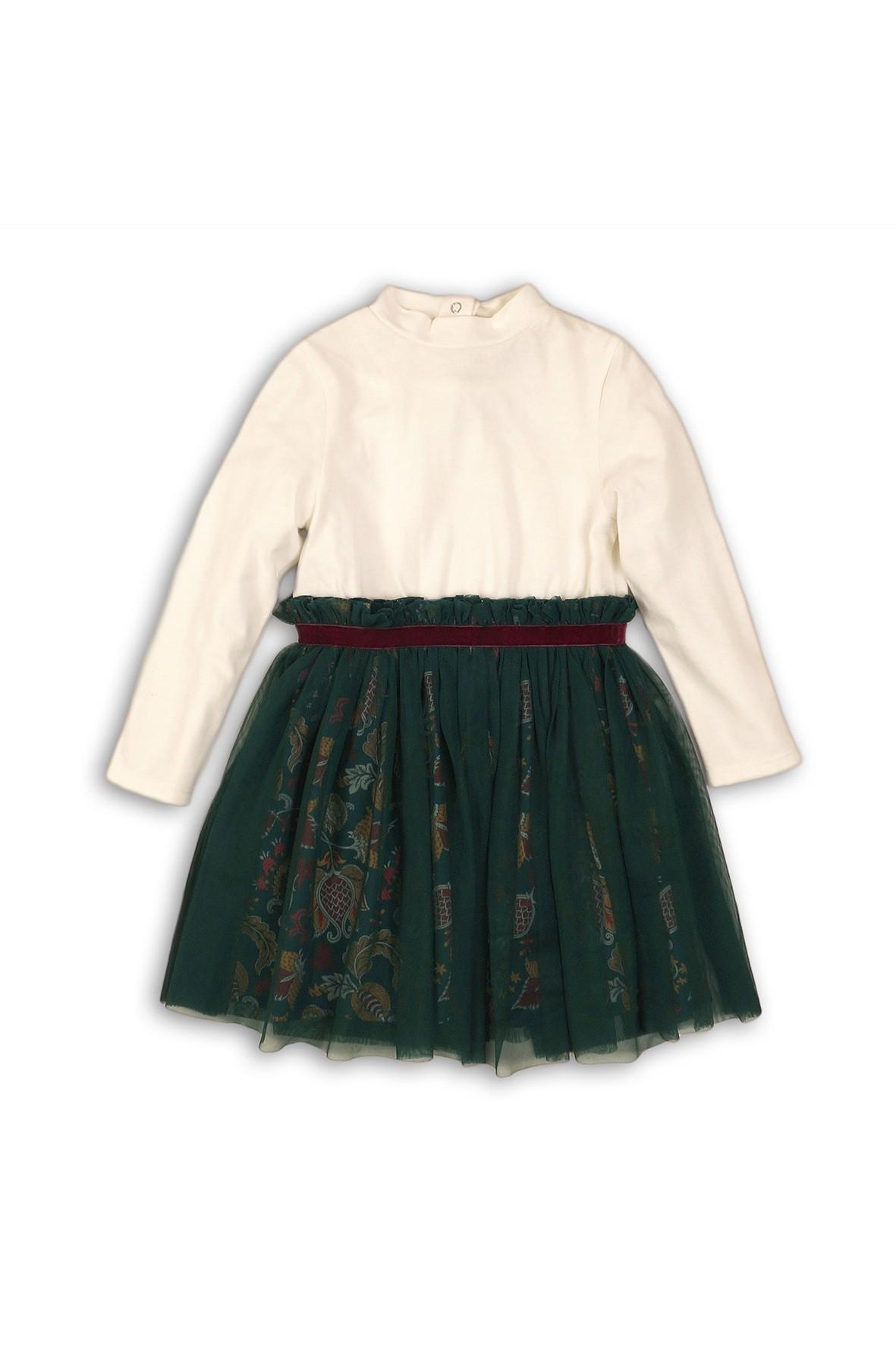 Sukienka kremowa z zielonym tiulowym dołem