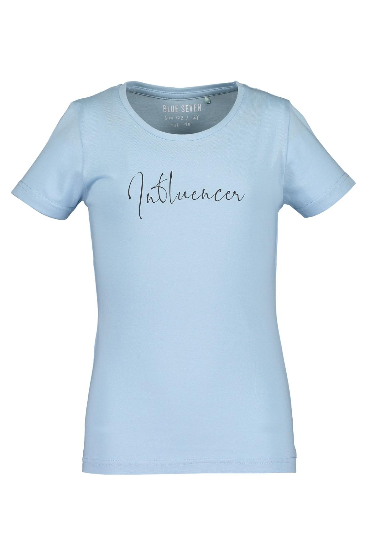 T-shirt dziewczęcy niebieski z napisem