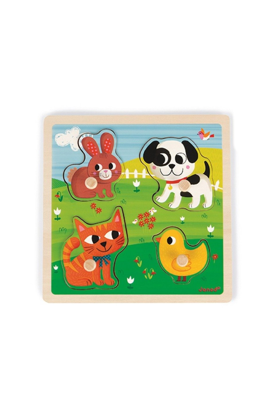 Puzzle sensoryczne drewniane- Moje pierwsze zwierzątka- Janod