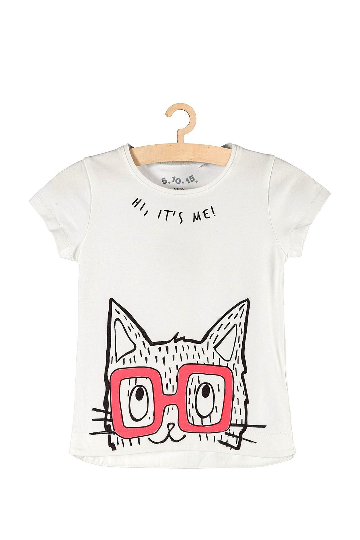 Koszulka dziewczęca z kotem w okularach