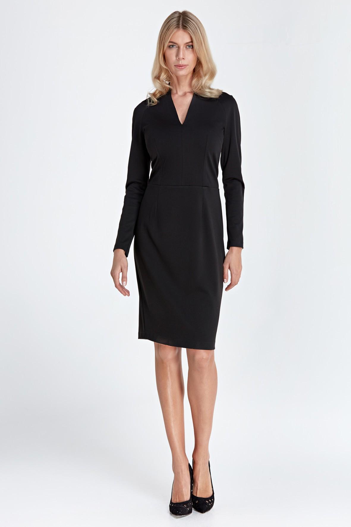 Sukienka z subtelnym dekoltem V - czarna