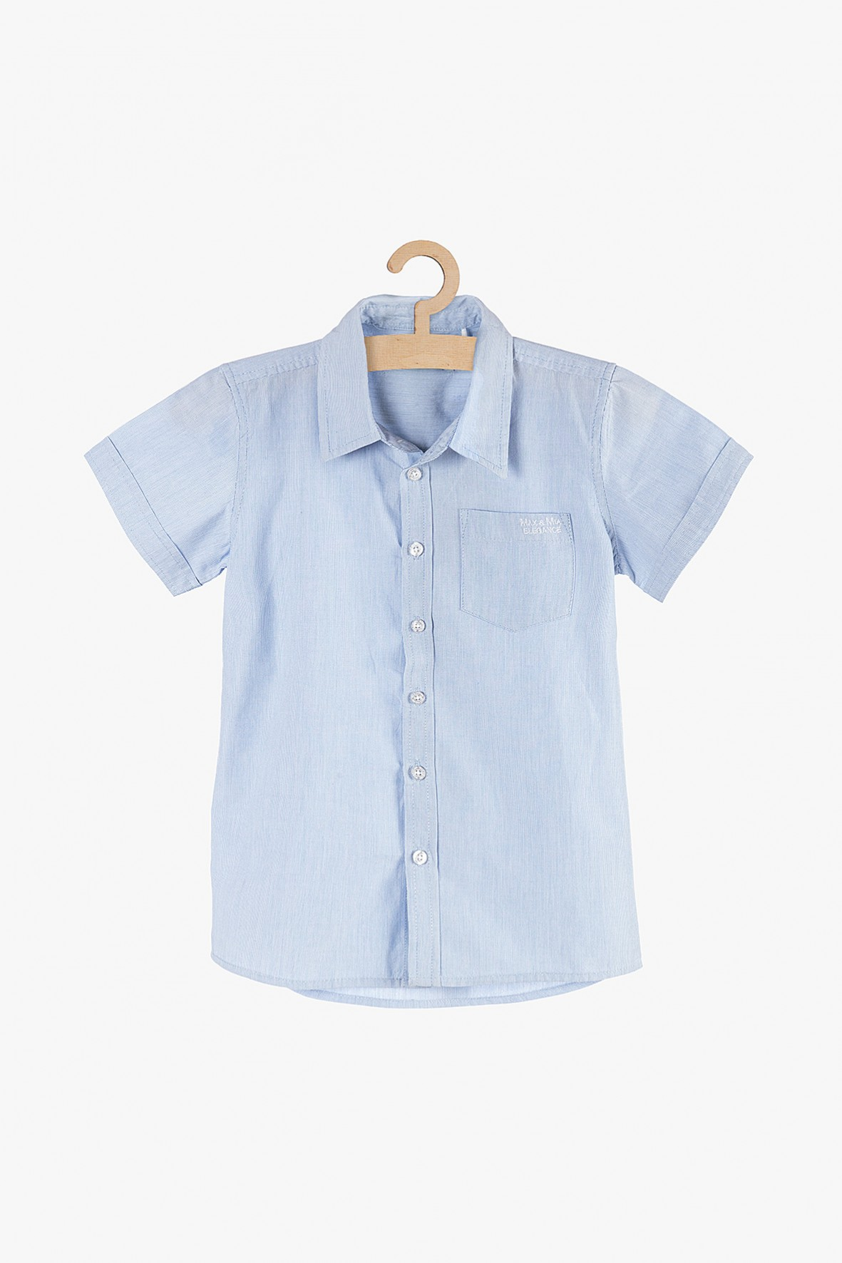 Elegancka koszula chłopięca niebieska z krótkim rękawem