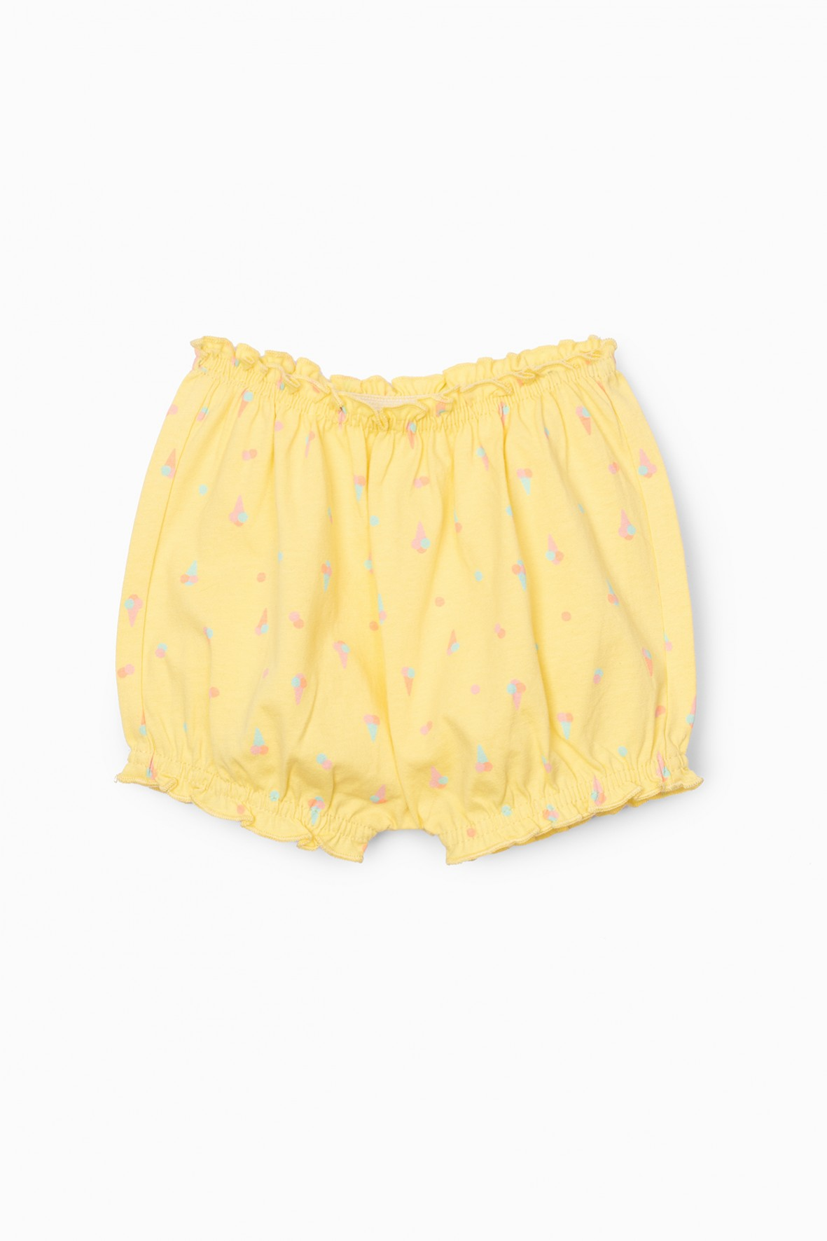 Szorty dziewczęce żółte w kolorowe wzorki