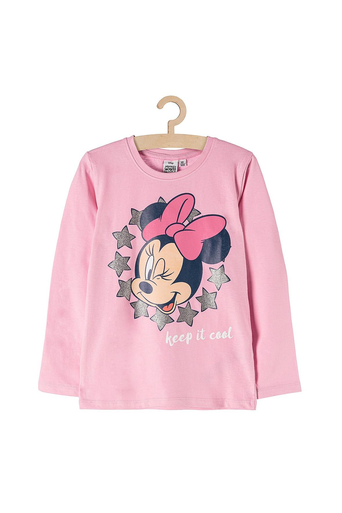 Bluzka dziewczęca Myszka Minnie- różowa z długim rękawem
